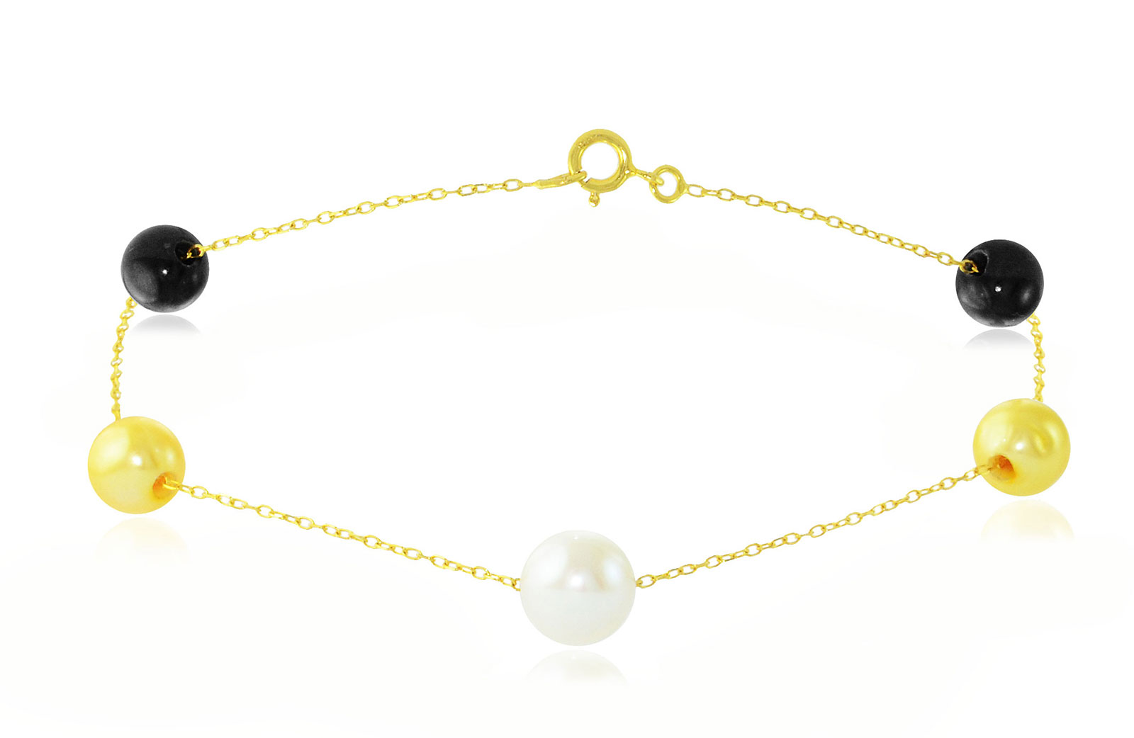 Vp Jewels 18K Solid Gold 5-7MM Gradual  Built-in Golden-Yelow, White and Black Pearls Bracelet