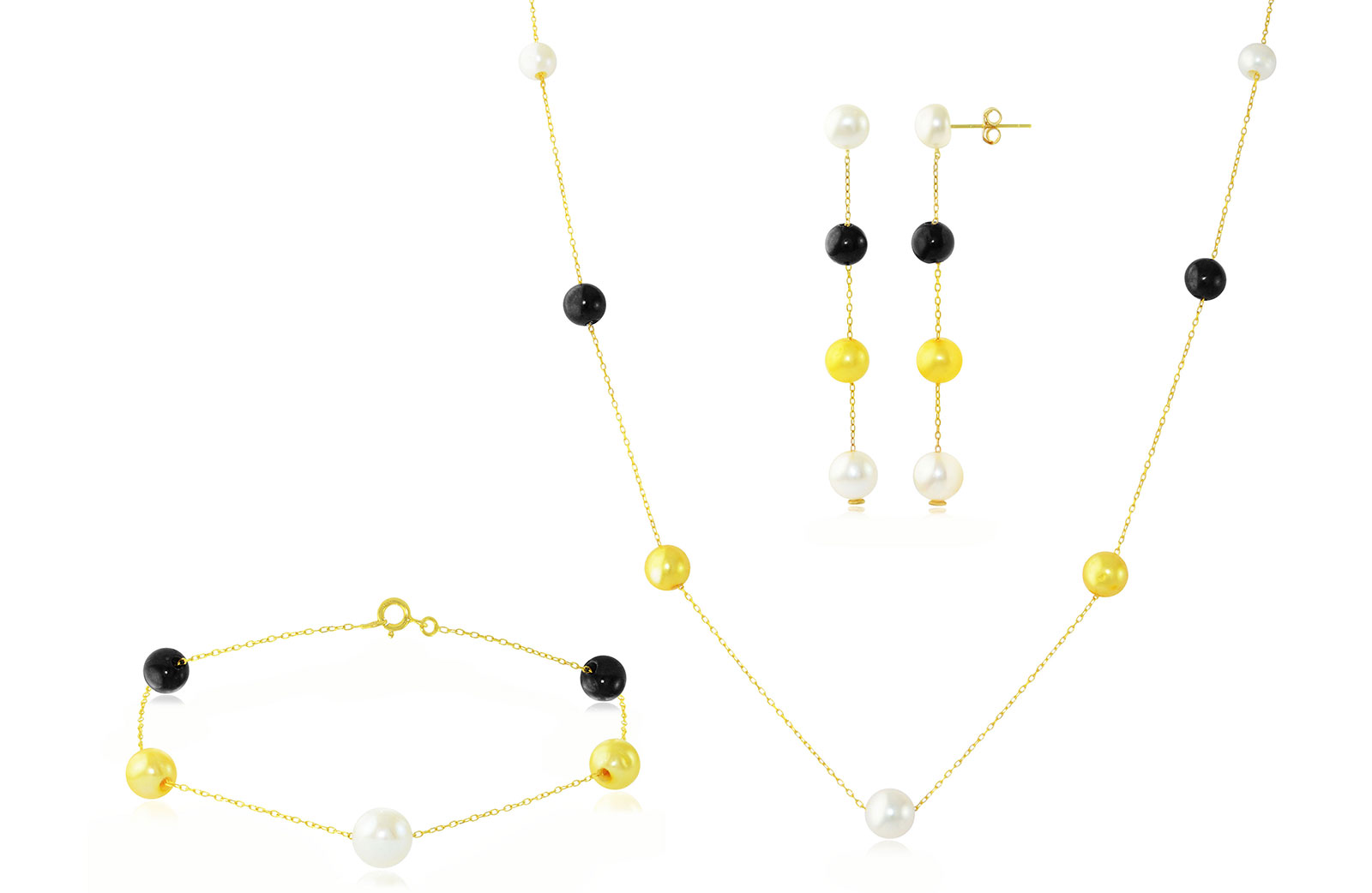 Vp Jewels 18K Solid Gold 5-7MM Gradual  Built-in  Golden-Yelow, White and Black  Pearl Necklace,  earrings,  Bracelet Set