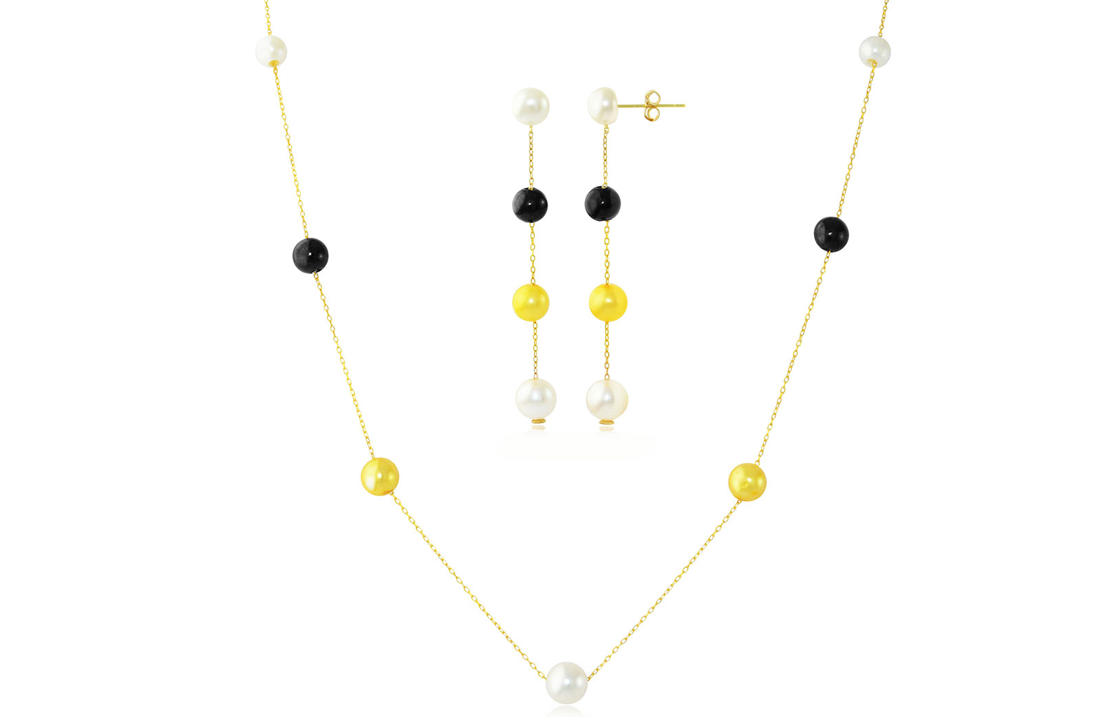 Vp Jewels 18K Solid Gold 5-7MM Gradual  Built-in Gold- Yellow Pearl Necklace and earrings Set