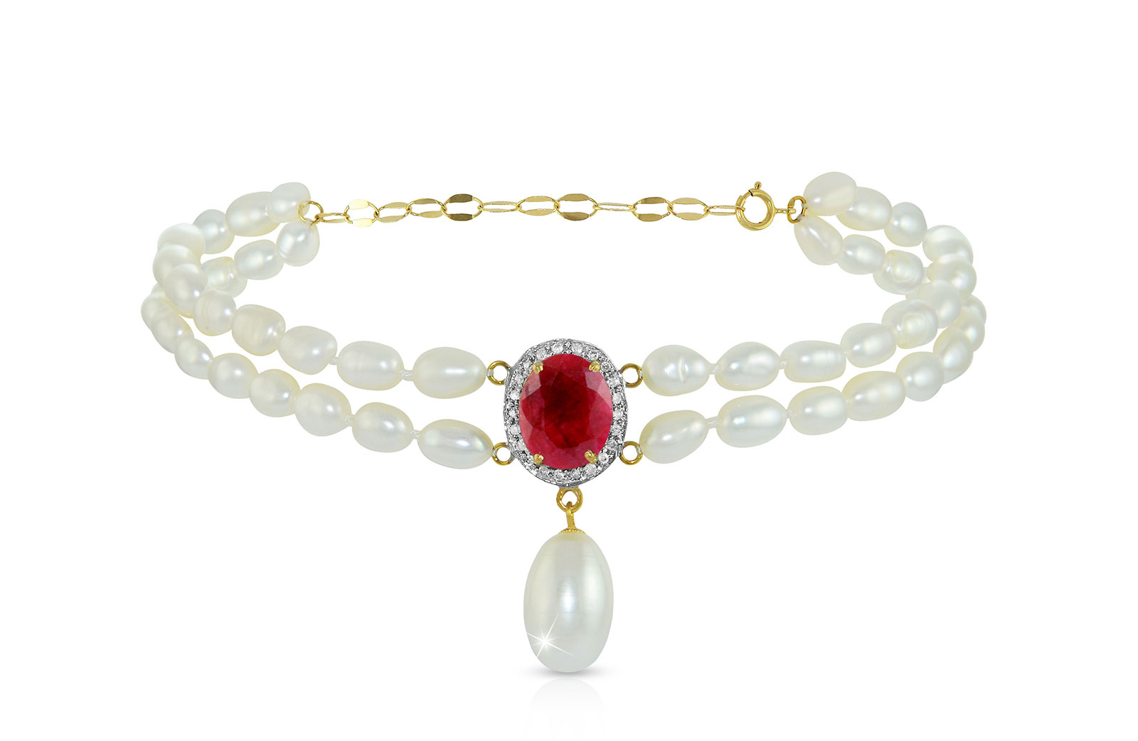 Vera Perla 18K Gold 0.12ct. Diamonds, Oval Ruby & Pearl Bracelet