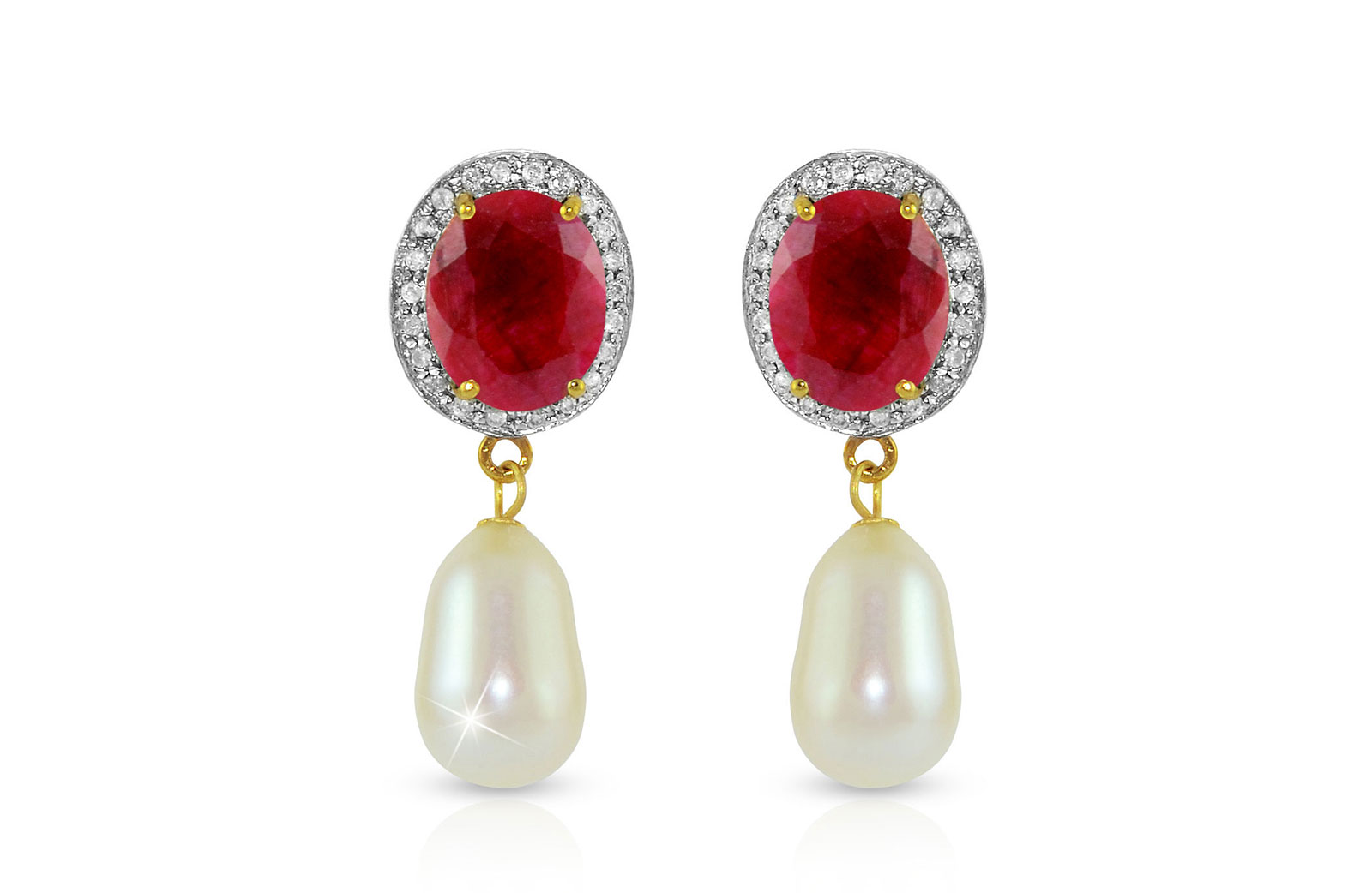Vera Perla 18K Gold 0.24ct. Diamonds, Oval Ruby & Pearl Earrings