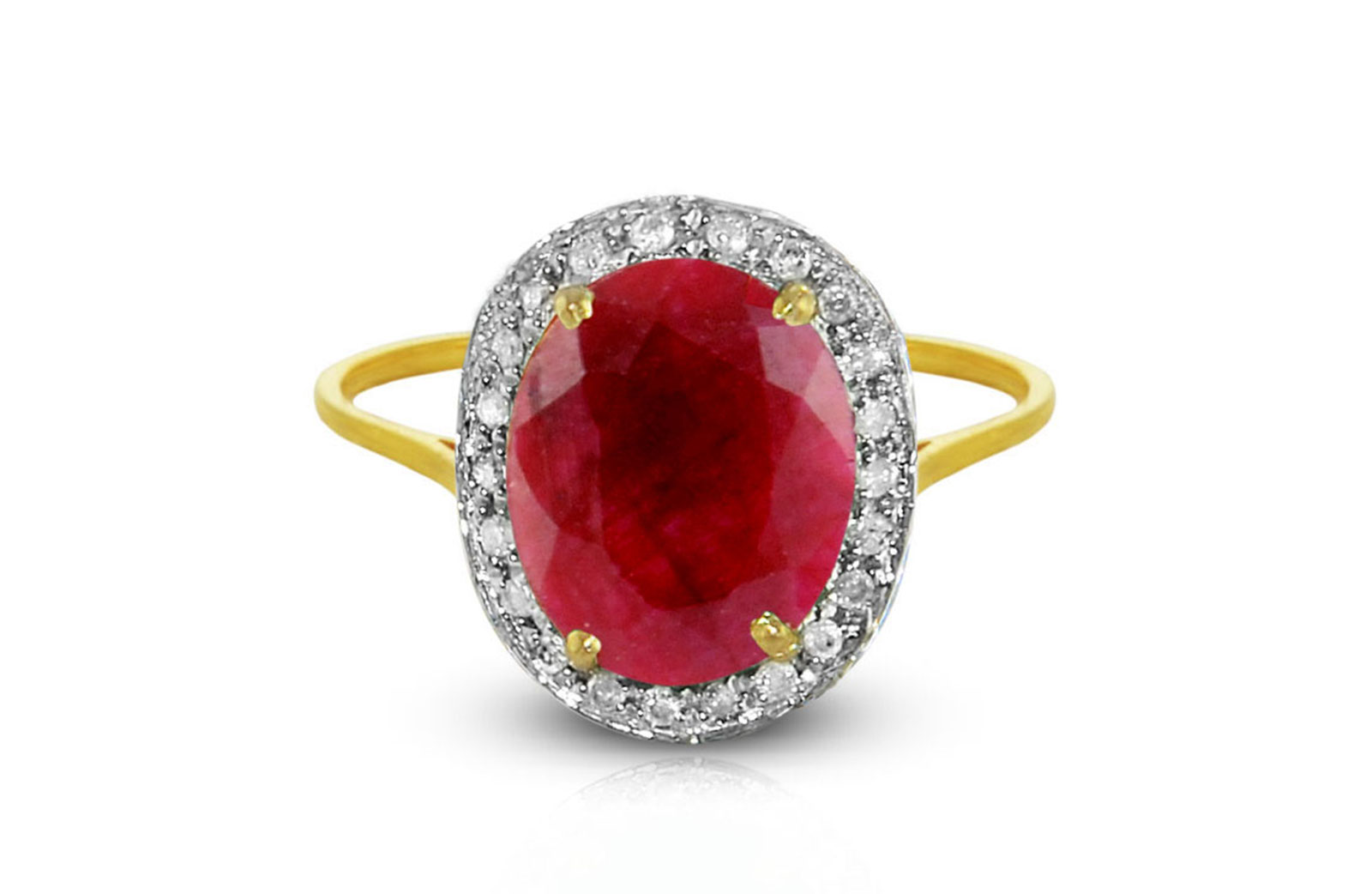 Vera Perla 18K Gold 0.12ct Diamonds, 10mm Oval Ruby Ring, Size 6.5 US