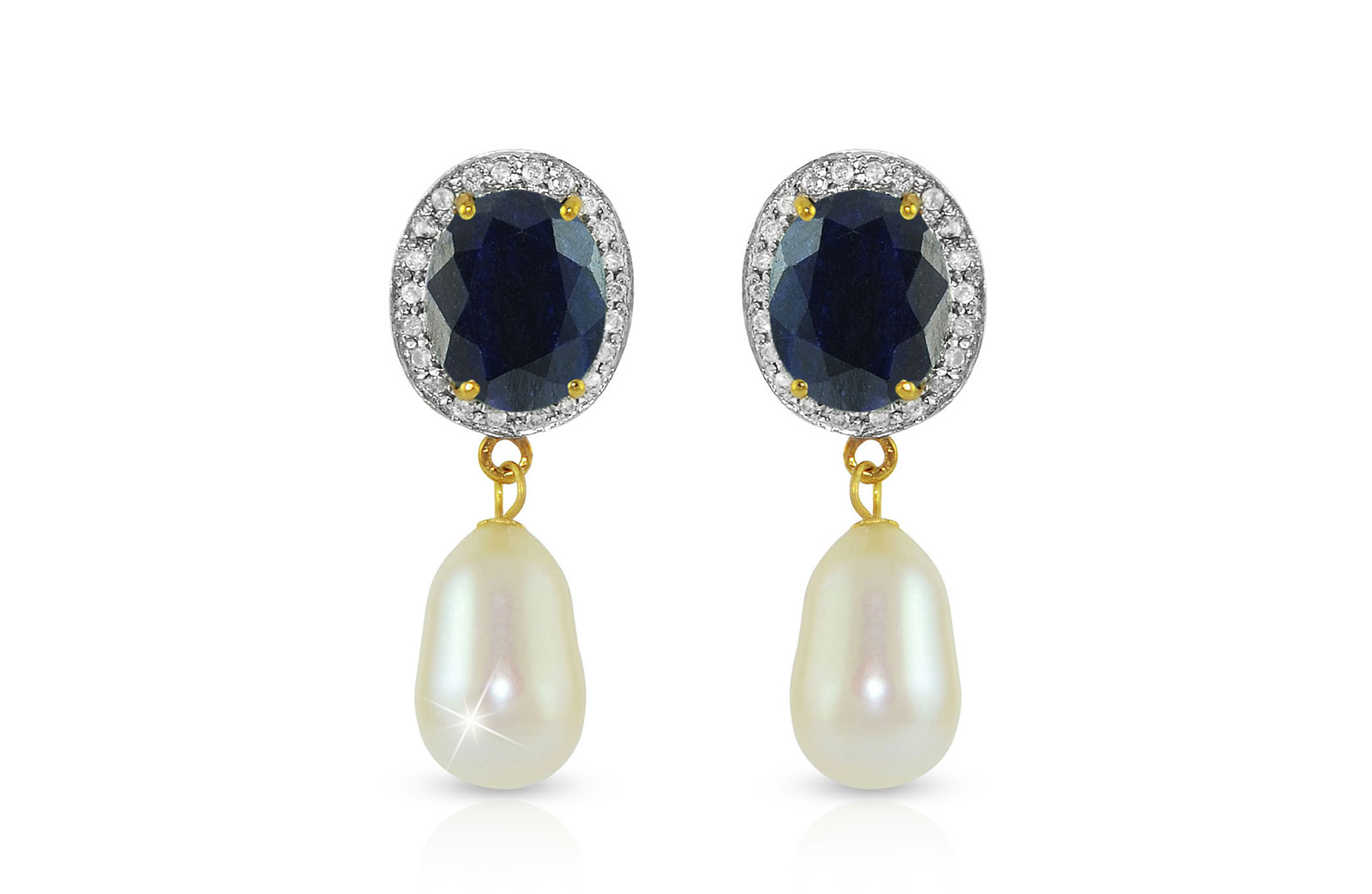 Vera Perla 18K Gold 0.24ct. Diamonds, Oval Sapphire & Pearl Earrings