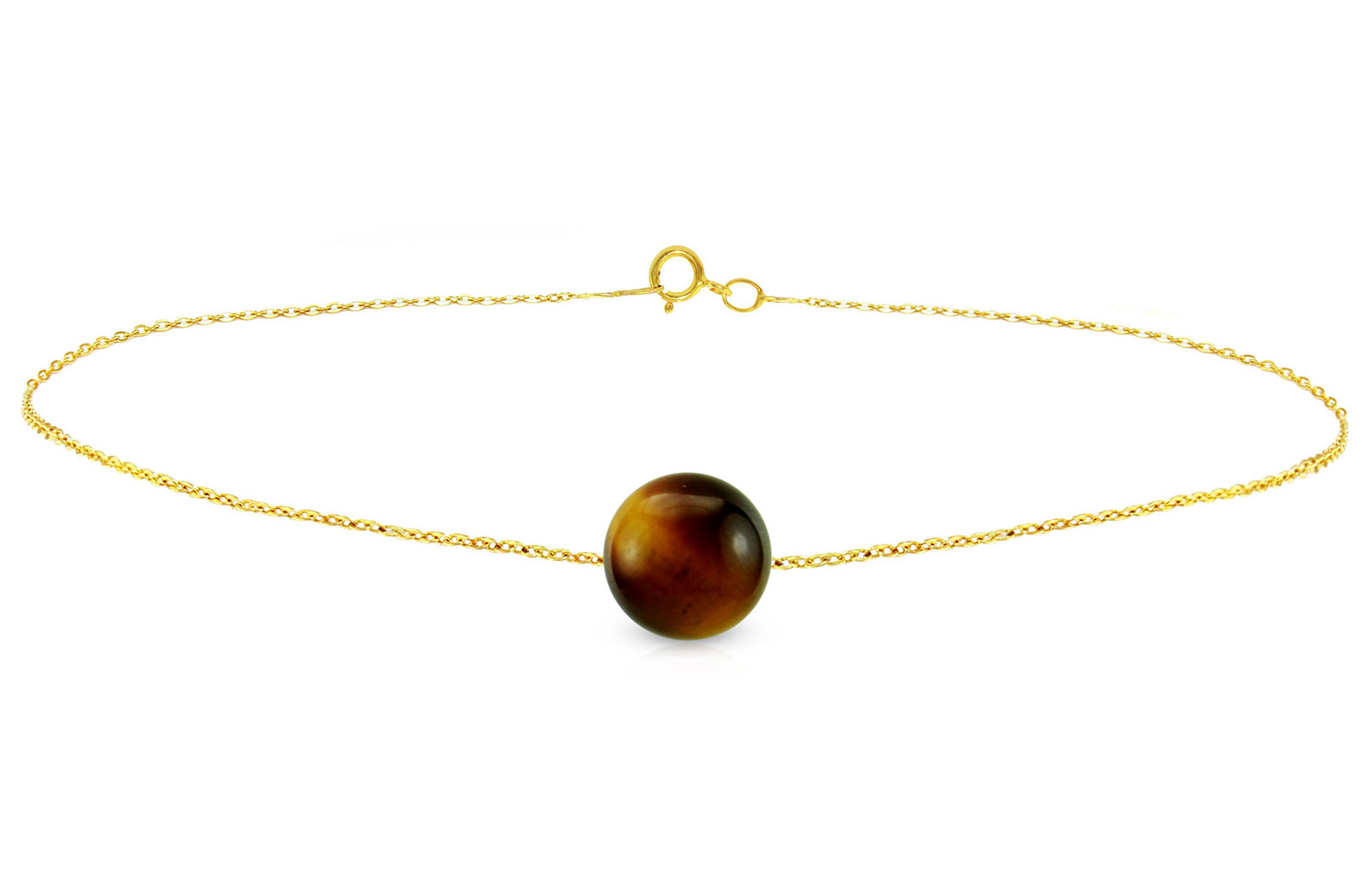 Vera Perla 10k Gold Simple 7mm Tiger Eye Bracelet