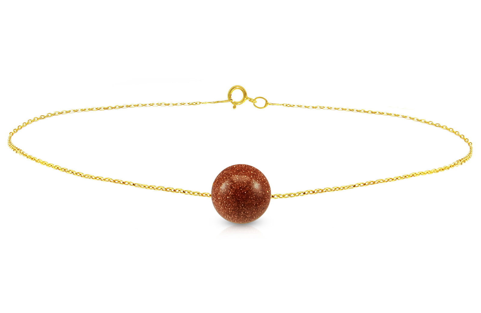 Vera Perla 10k Gold Simple 10mm Sunstone Bracelet