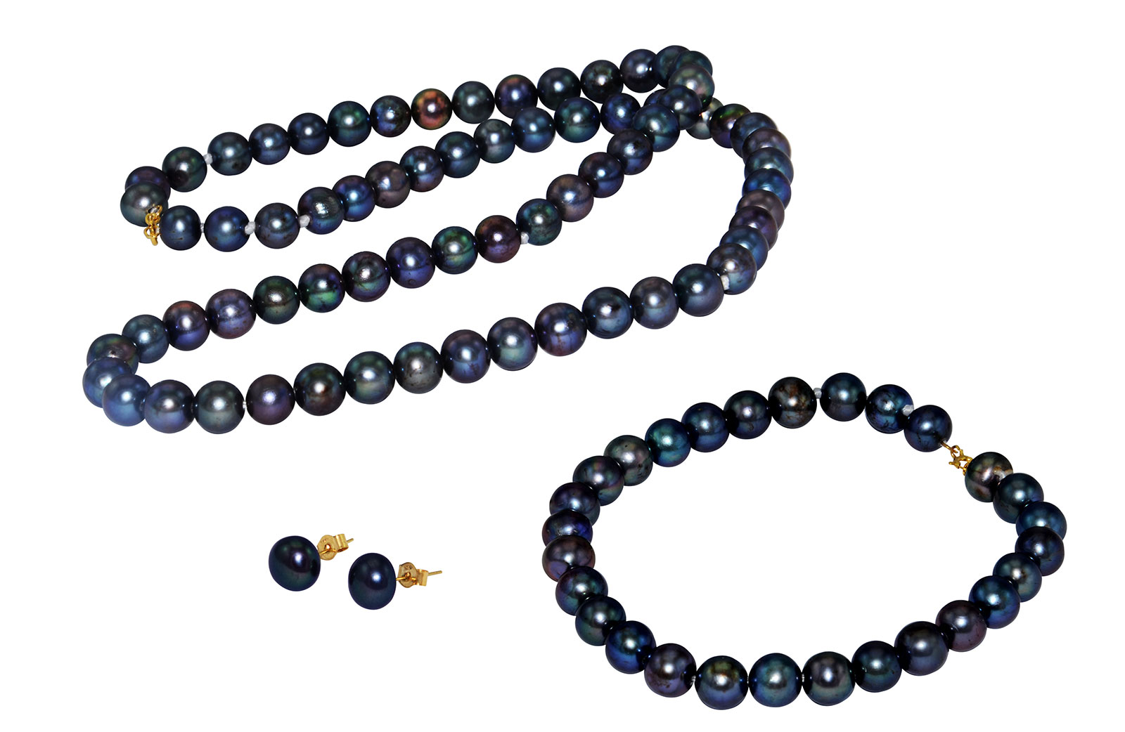 Vera Perla 10k Gold  6-7mm Black Pearl Strand Jewelry Set