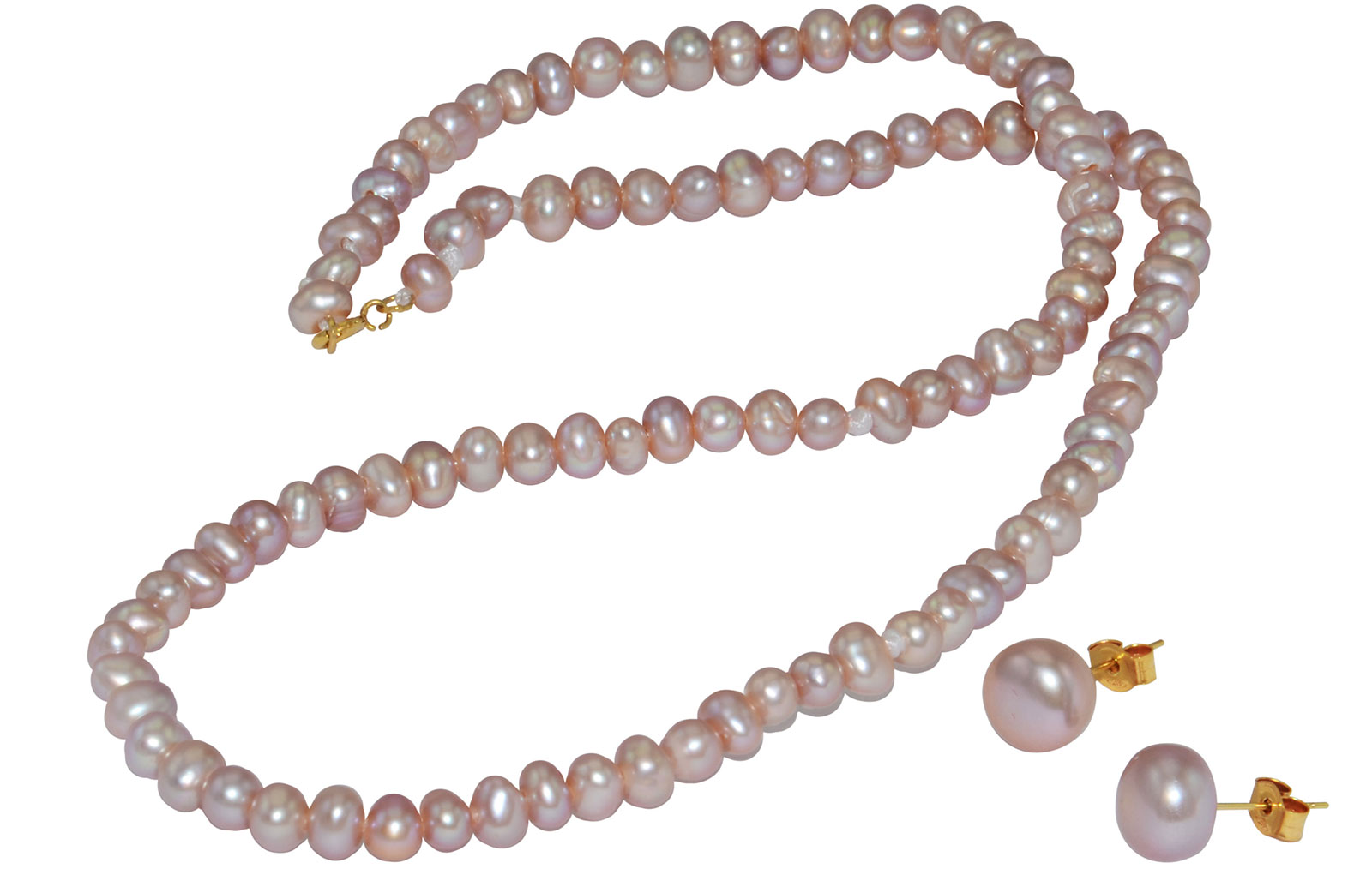 Vera Perla 10k Gold  3mm Purple Pearl Strand Necklace & 7mm Earrings