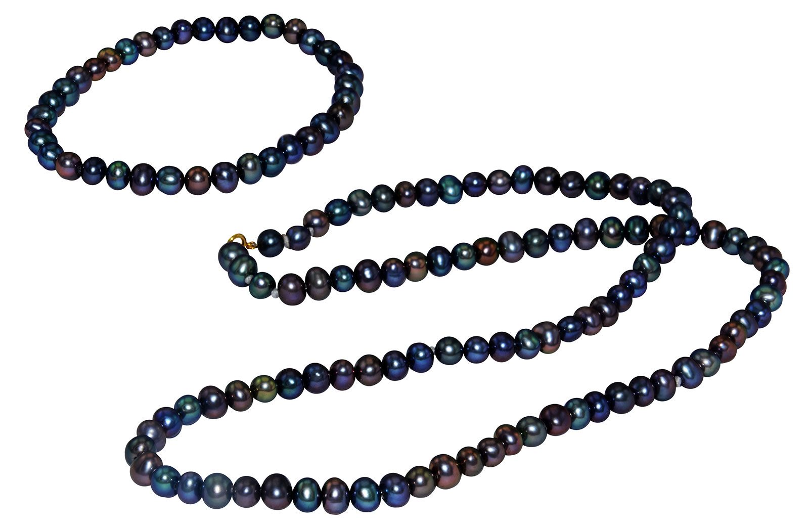 Vera Perla 10K Gold 4-5mm Black Pearl Strand Necklace & Elastic Bracelet