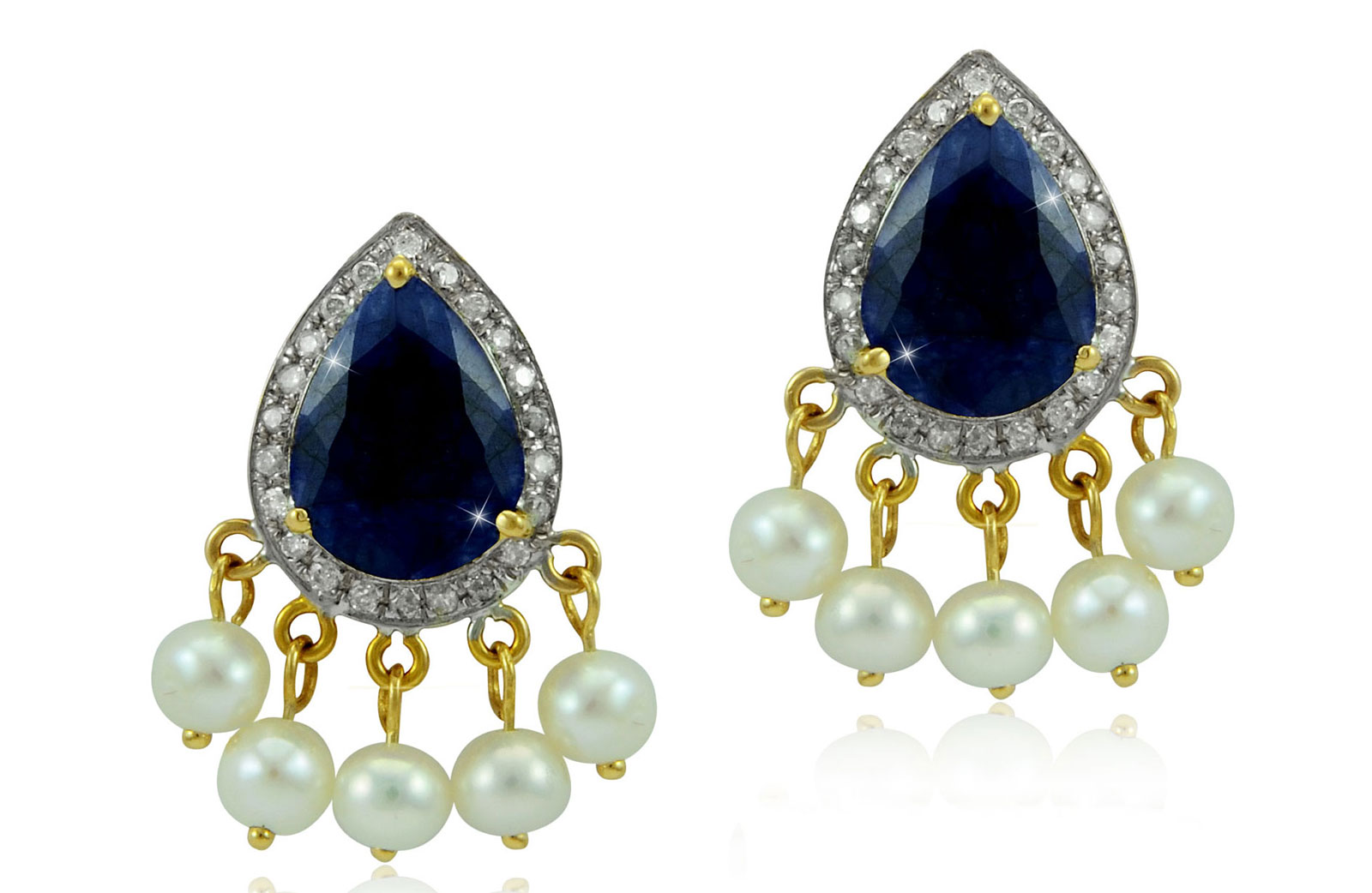 Vera Perla 18K Gold 0.24ct Diamonds, Royal Indian Sapphire Earrings