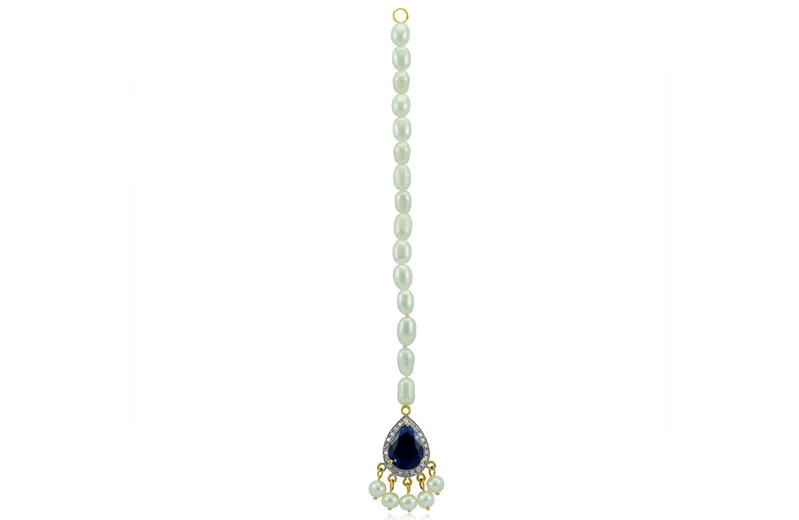 Vera Perla 18K Gold 0.12ct Diamonds, Royal Indian Sapphire Head Piece