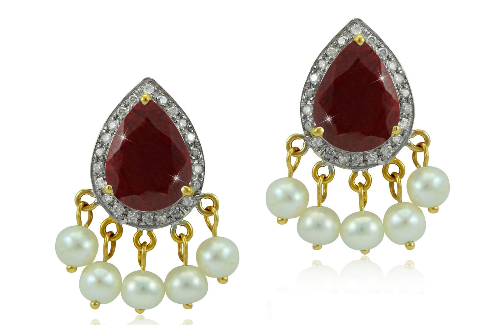 Vera Perla 18K Gold 0.24ct Diamonds, Royal Indian Ruby Earrings