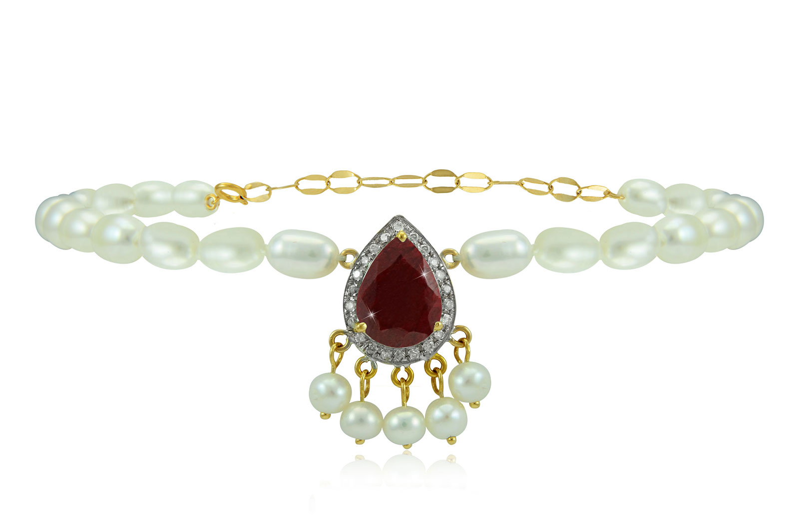 Vera Perla 18K Gold 0.12ct Diamonds, Royal Indian Ruby Bracelet