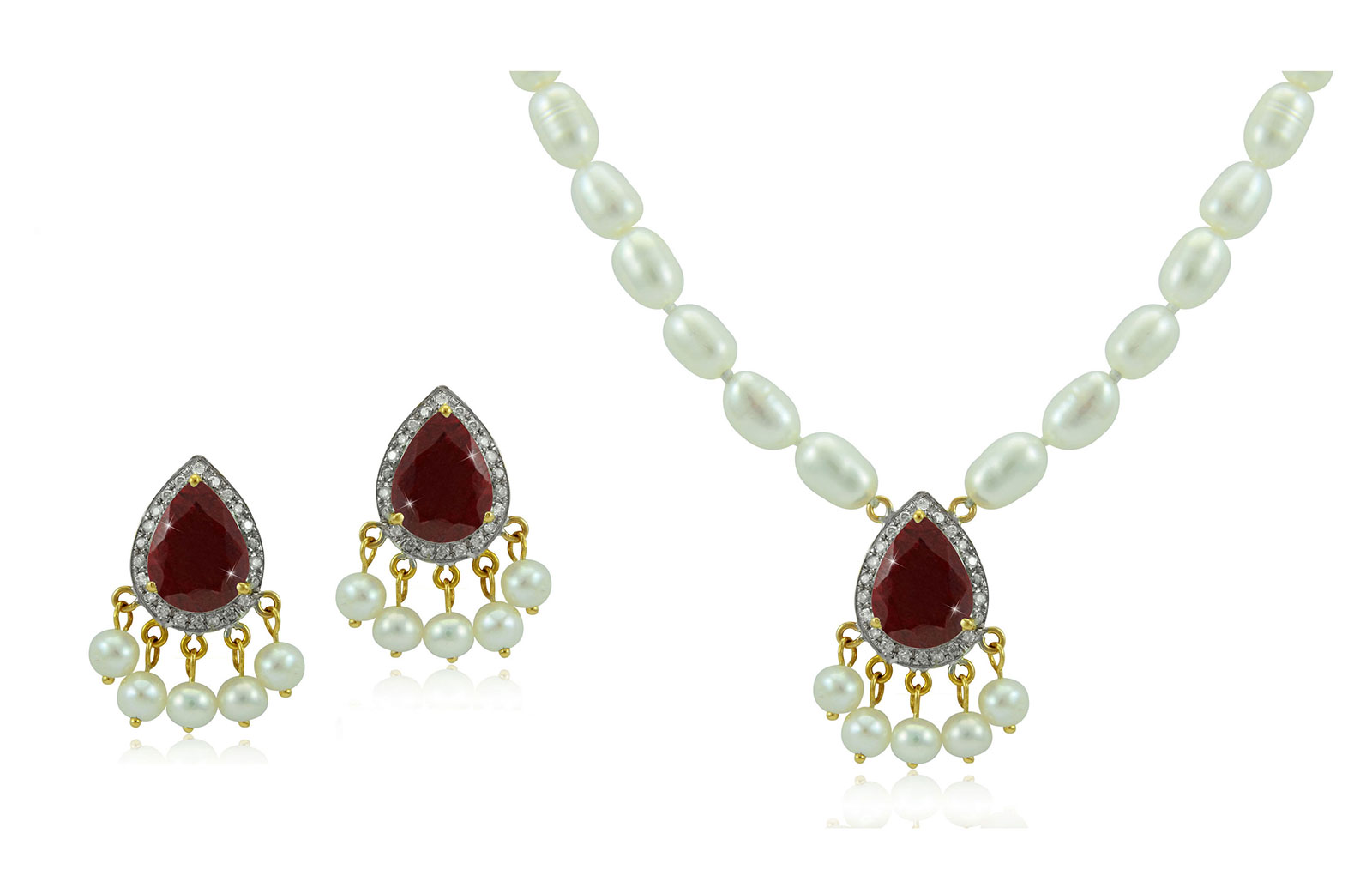 Vera Perla 18K Gold 0.36ct Diamonds, Royal Indian Ruby 2 pcs set