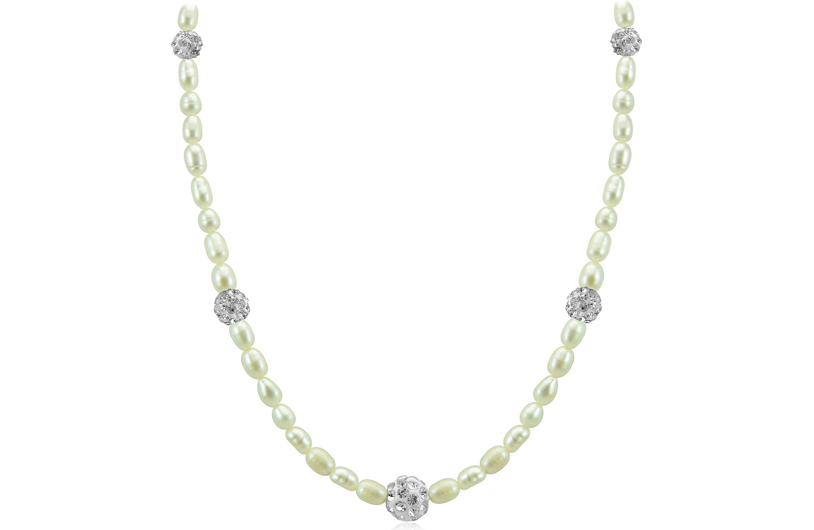Vera Perla 18K Gold Built-in Gradual Crystals  & Pearls Strand Necklace