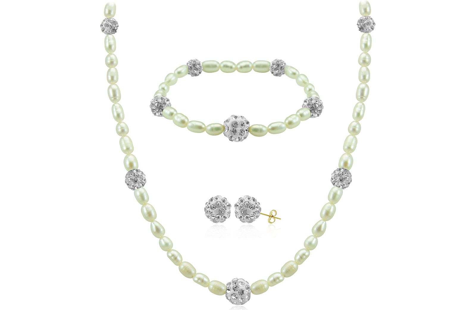 Vera Perla 18K  Built-in Gradual Crystal Balls & Pearls Strand 3 pc Set