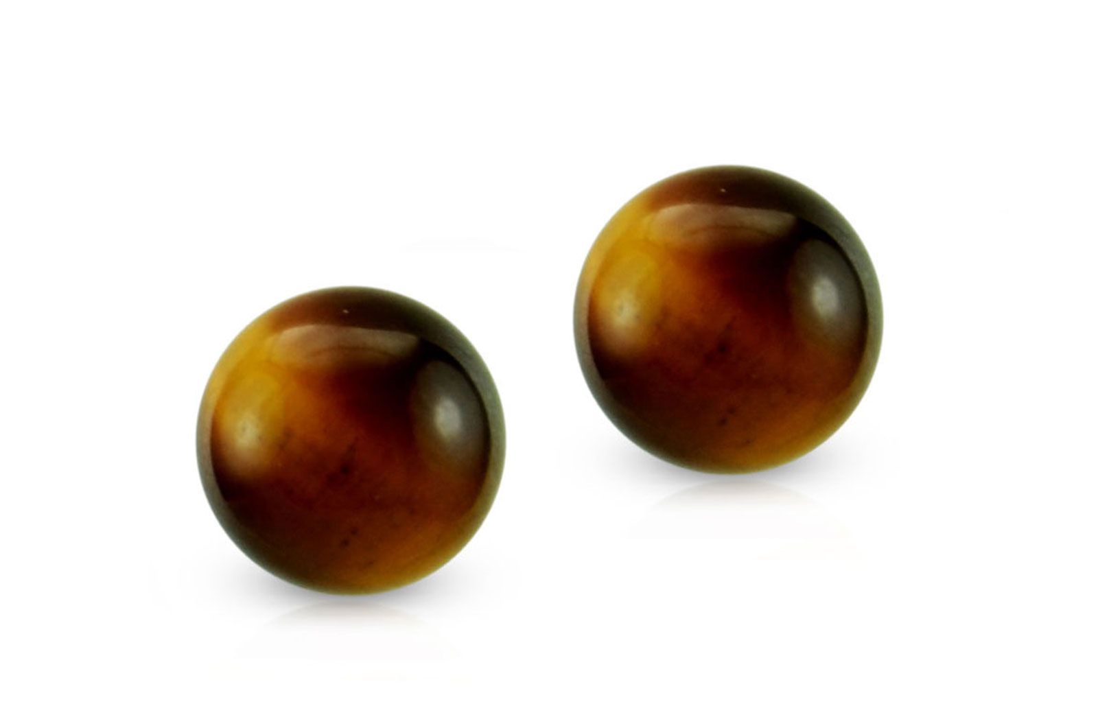 Vera Perla 18k Gold Simple 7mm Tiger Eye Earrings