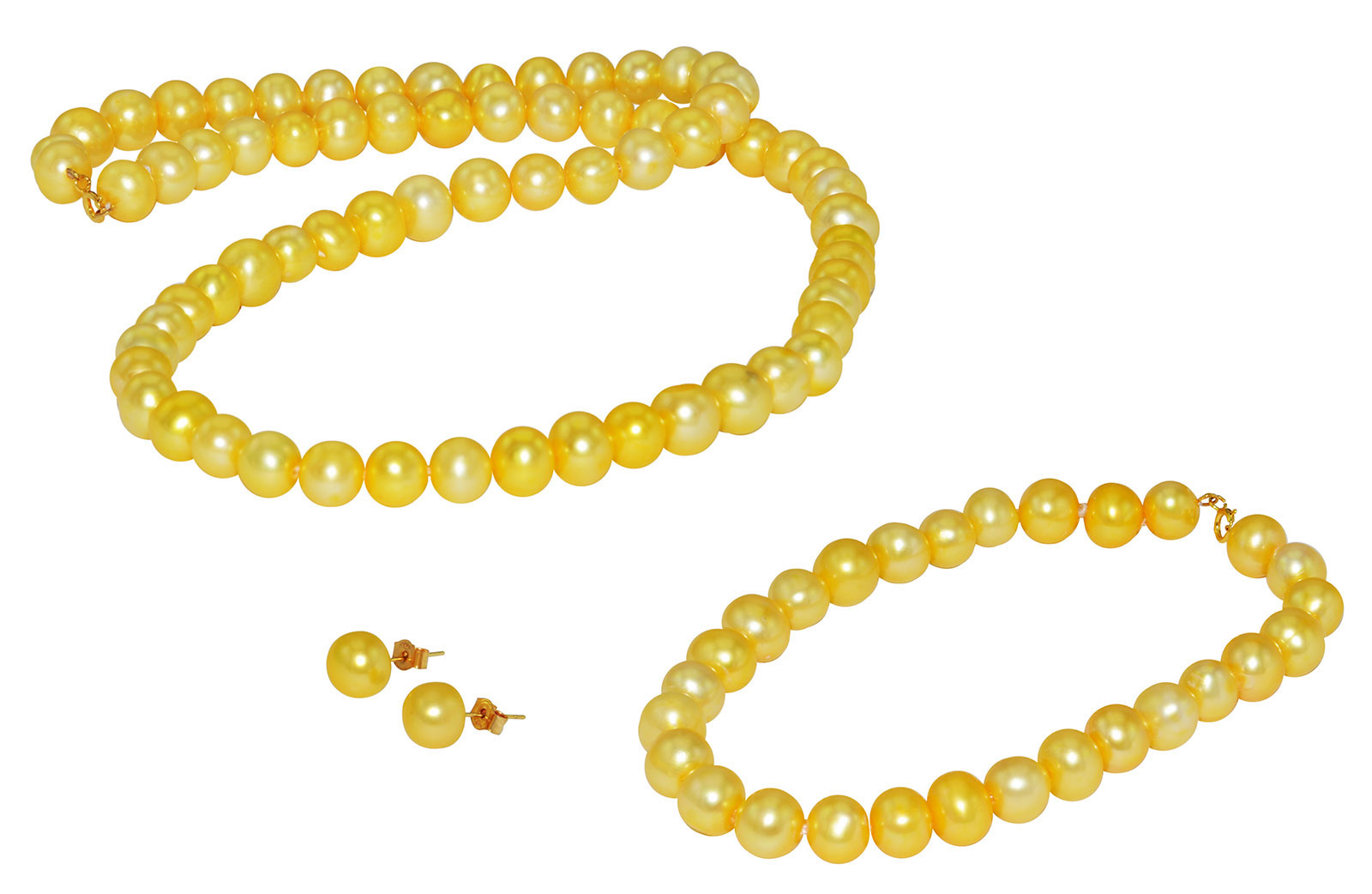 Vera Perla 18K Gold  6-7mm Golded Pearl Strand Jewelry Set