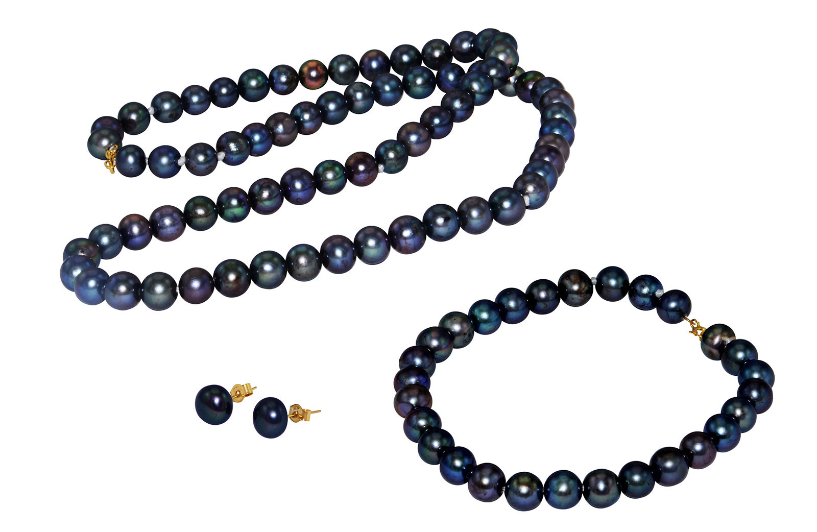 Vera Perla 18K Gold  6-7mm Black Pearl Strand Jewelry Set