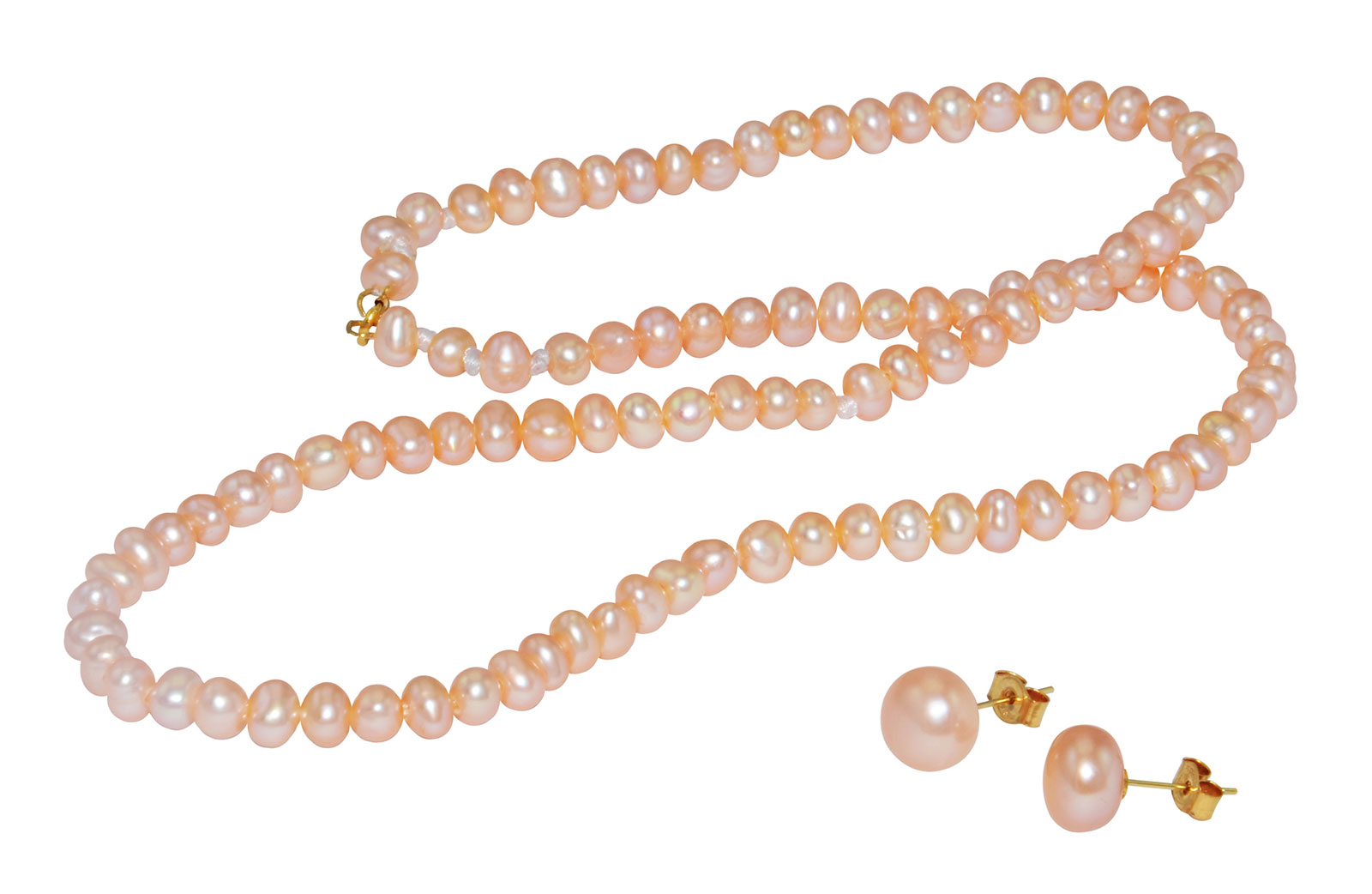 Vera Perla 18K Gold  3mm Pink Pearl Strand Necklace & 7mm Earrings
