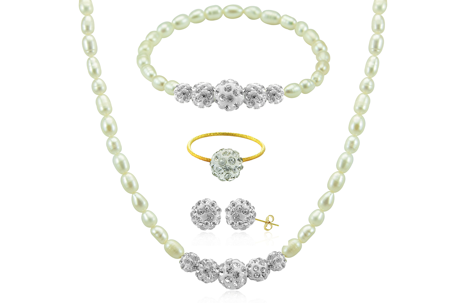 Vera Perla 10K Gold Gradual Crystal Balls & Pearls Strand 4 pcs. Jewelry Set