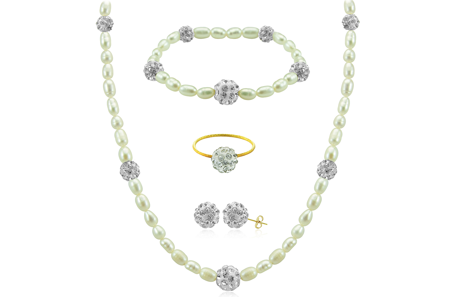 Vera Perla 10K Gold Gradual Built-in Crystal Balls & Pearls Strand 4 pcs. Jewelry Set
