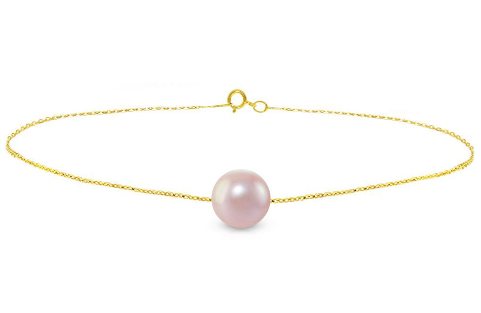 Vera Perla 10K Gold 7mm Purple Pearl Bracelet