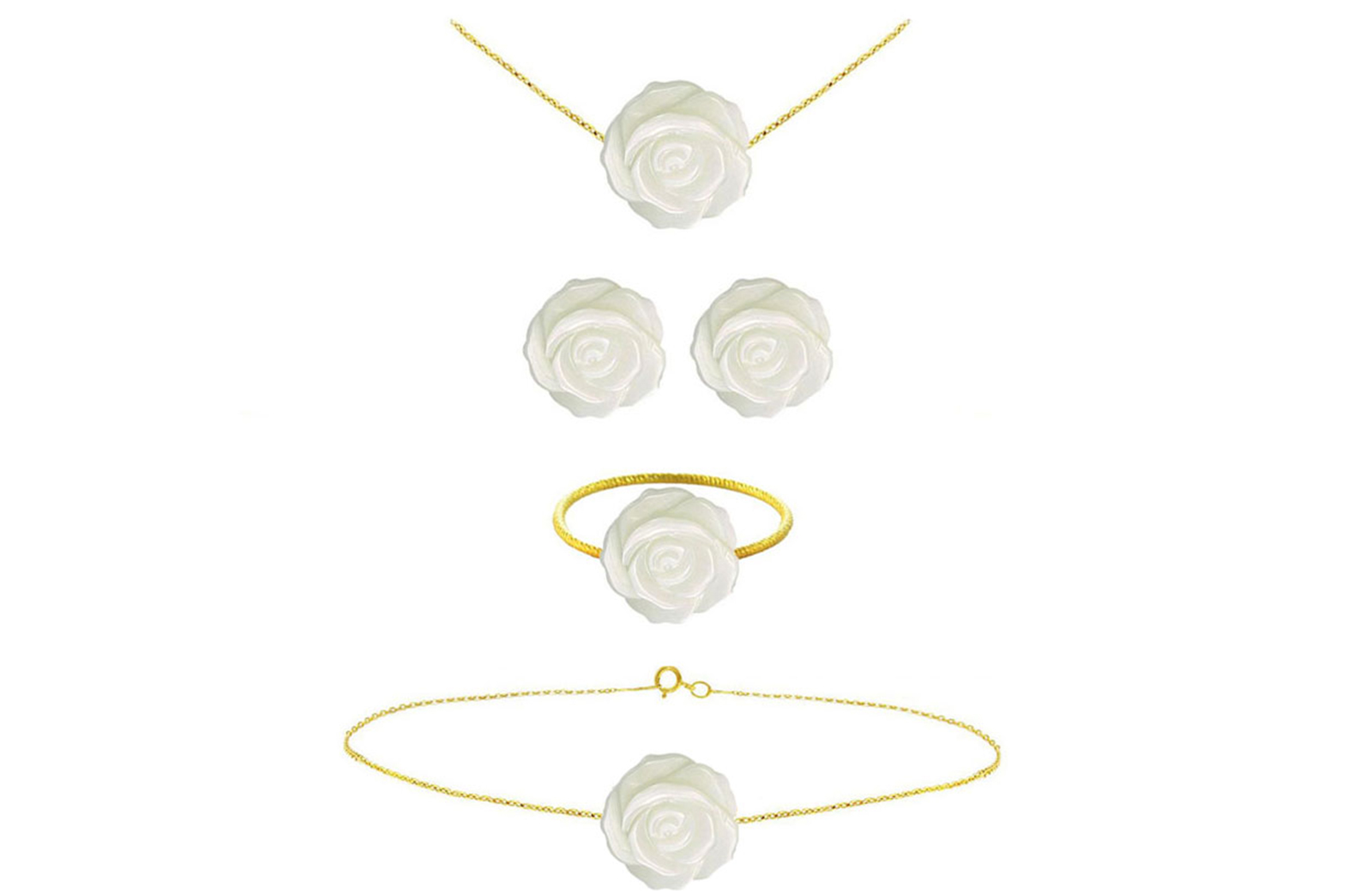 Vera Perla 18k Gold, 12mm Rose Carved Mother of Pearl 4 pcs Jewelry Set