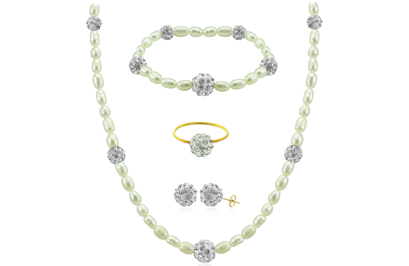 Vera Perla 18K Gold  Built-in Gradual Crystal Balls & Pearls Strand 4 pcs. Set