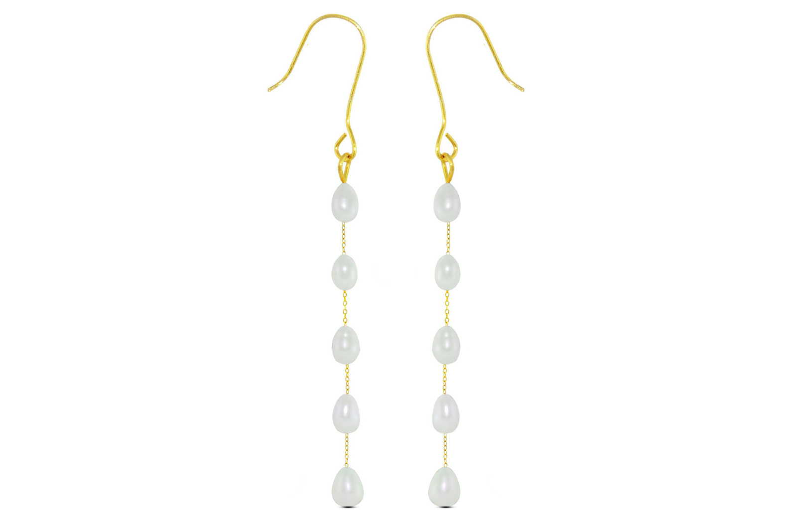 Vera Perla 10K Gold White Pearls Opera Drop Earrings