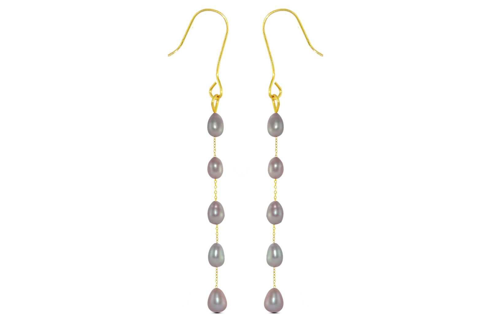 Vera Perla 10K  Gold Purple Pearls Opera Drop Earrings