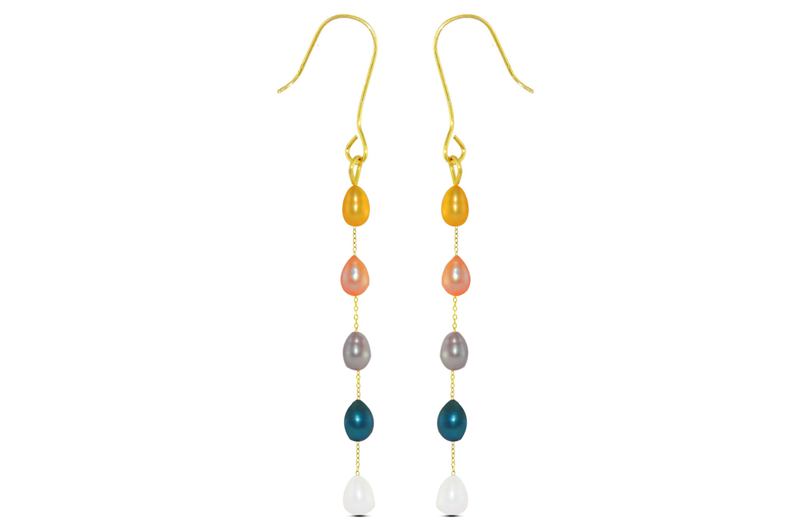 Vera Perla 10K  Gold Multicolored Pearls Opera Drop Earrings