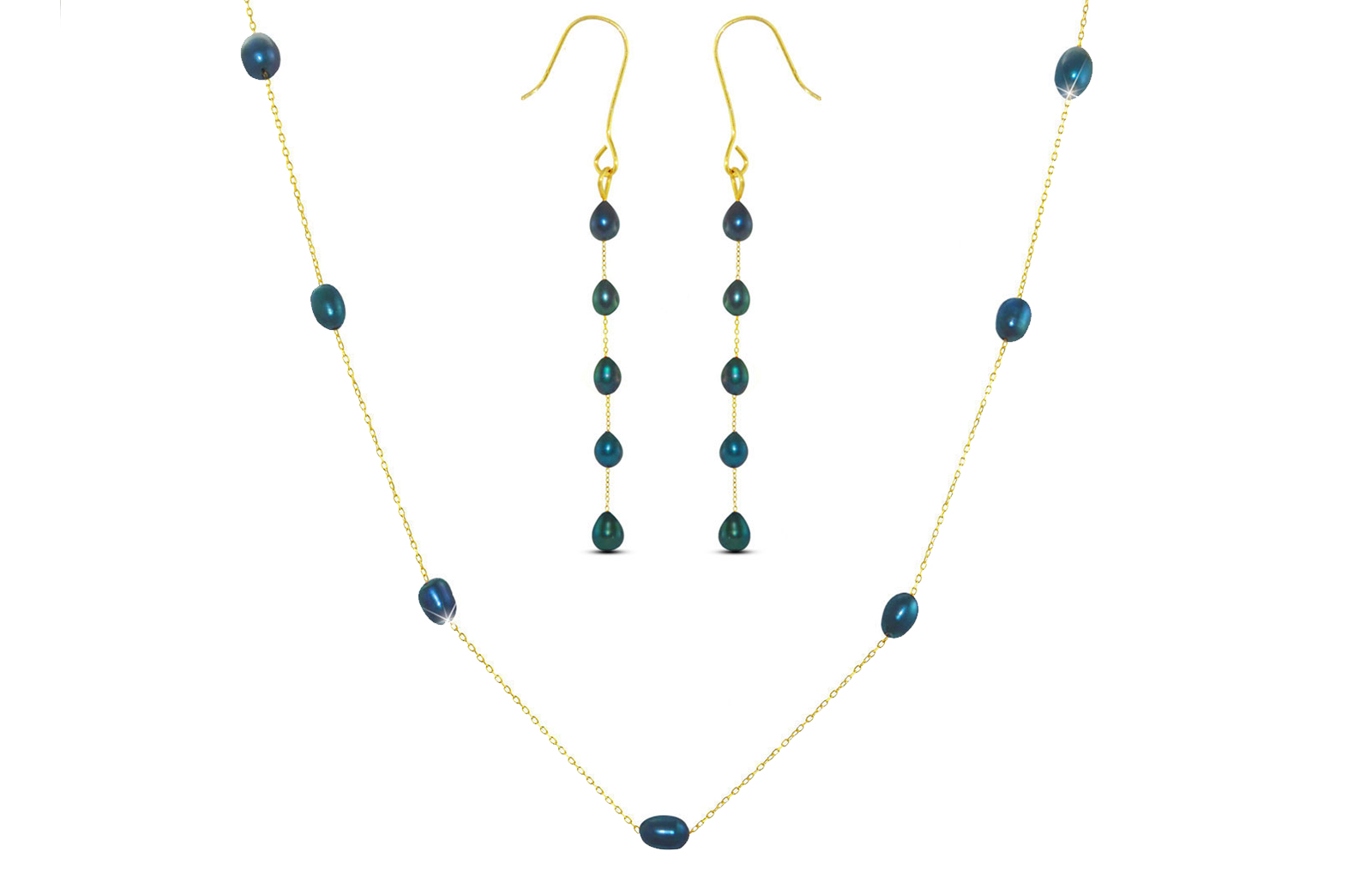 Vera Perla 10K Gold Black  Pearls Jewelry Set - 2 pcs.