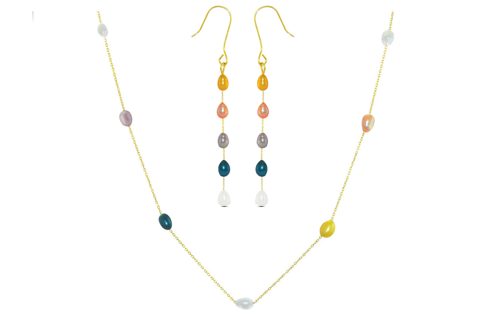 Vera Perla 10K Gold Multicolored  Pearls Jewelry Set - 2 pcs.