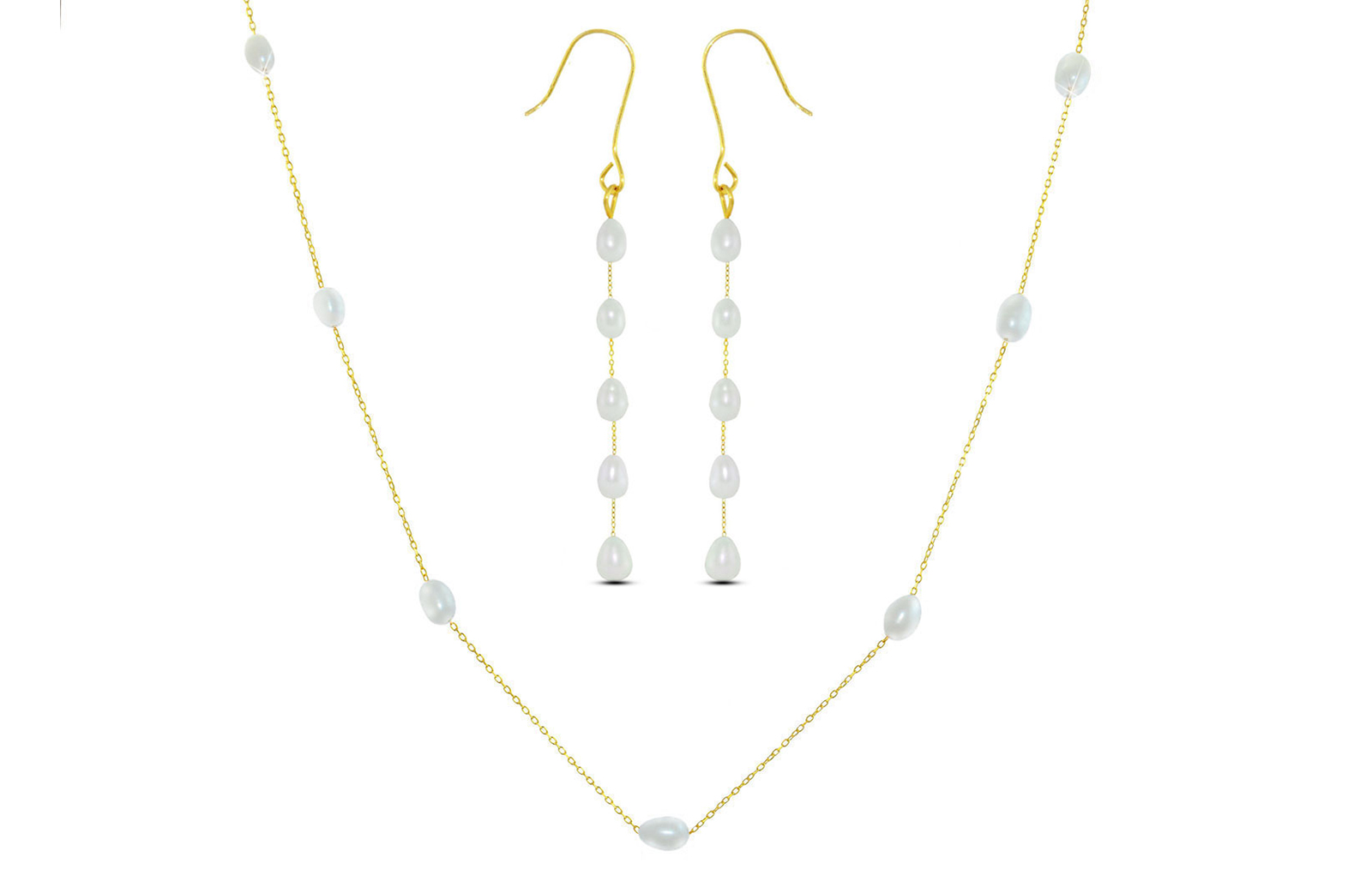 Vera Perla 18K Gold  White Pearls Jewelry Set - 2 pcs.