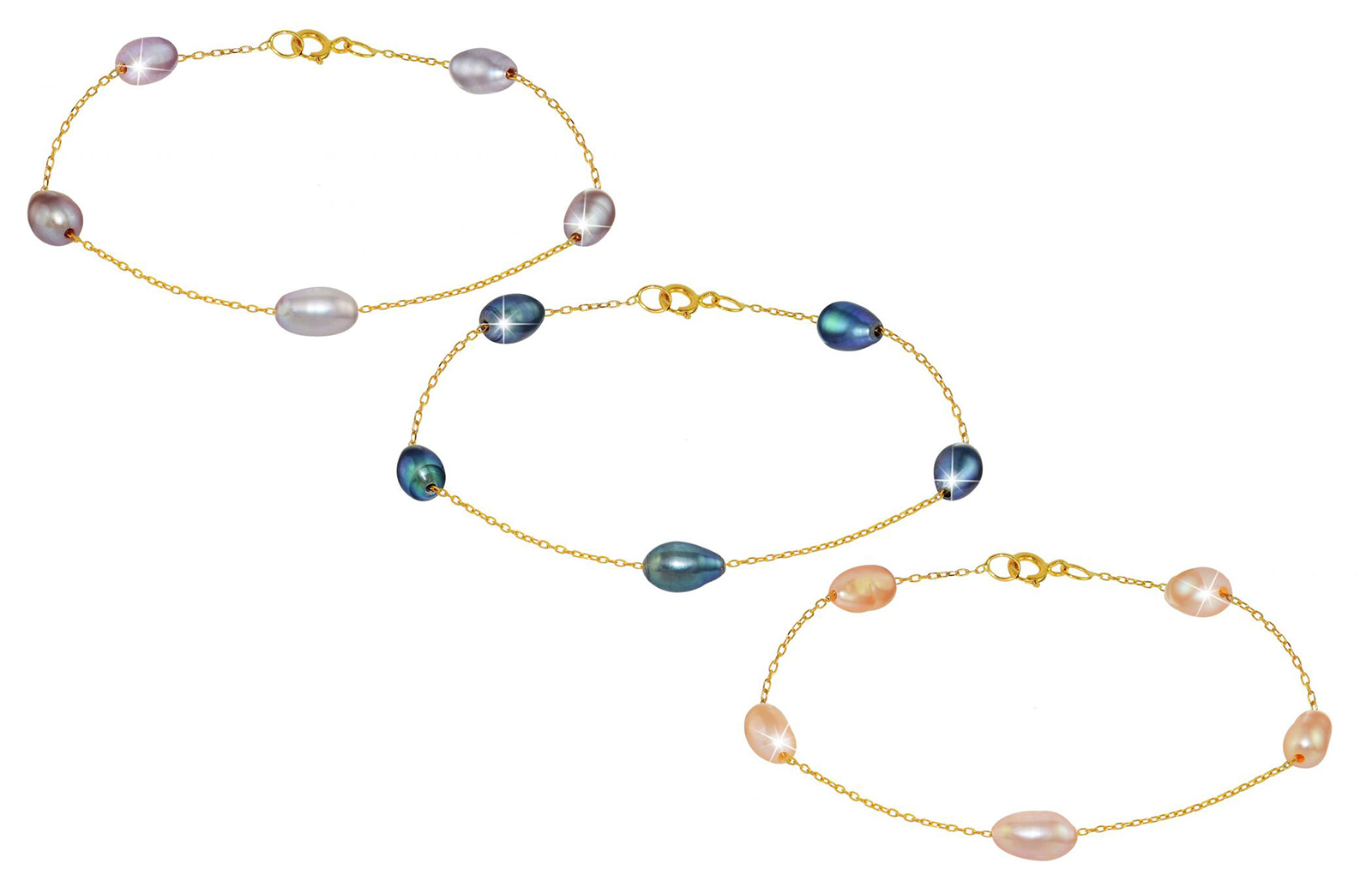 Vera Perla 18K Gold Genuine Pearls Bracelet - 3 pcs.