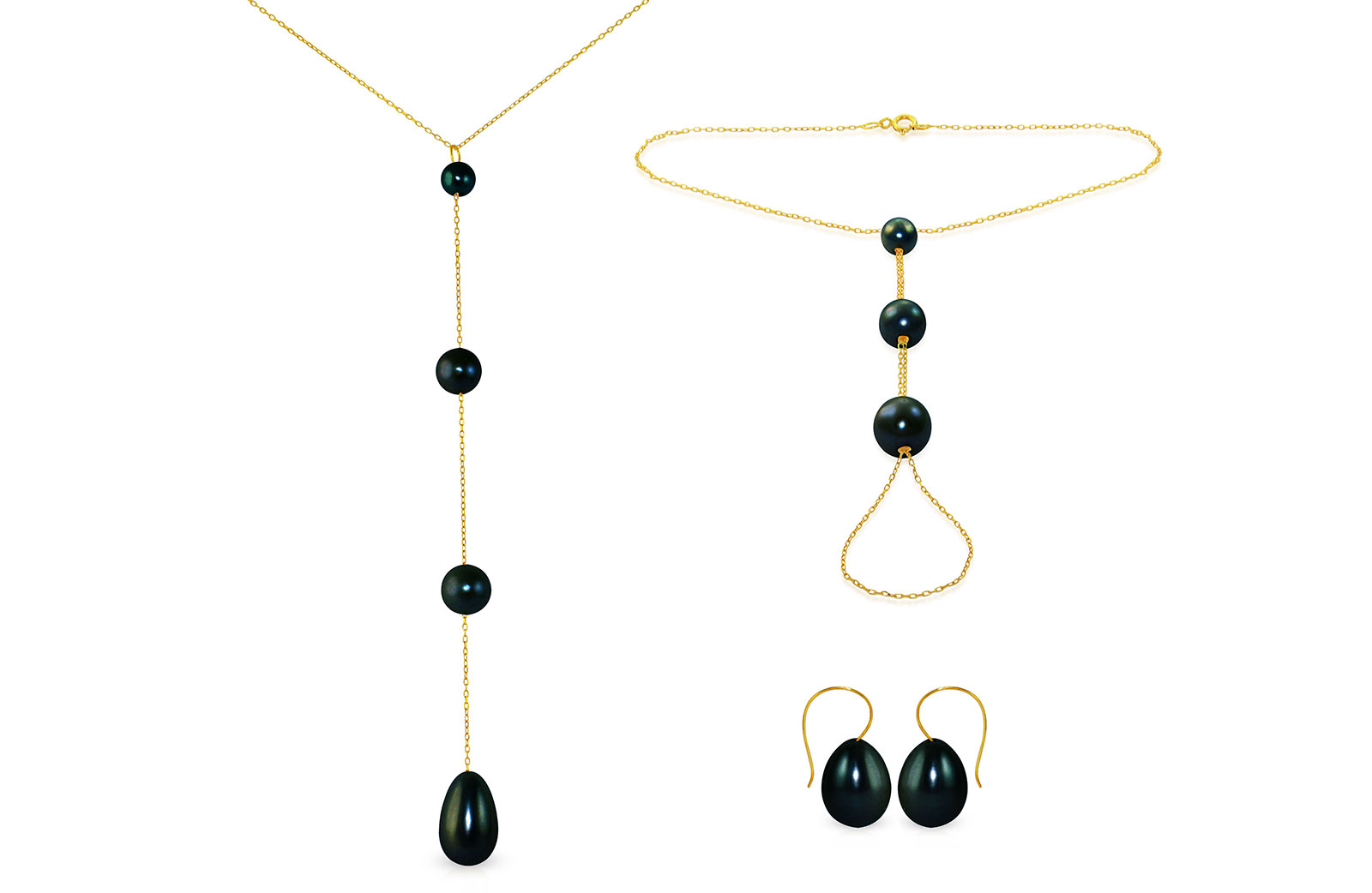 Vera Perla 10K Gold Gradual Built-in with Black Drop Pearl Jewelry Set, 3 Pcs