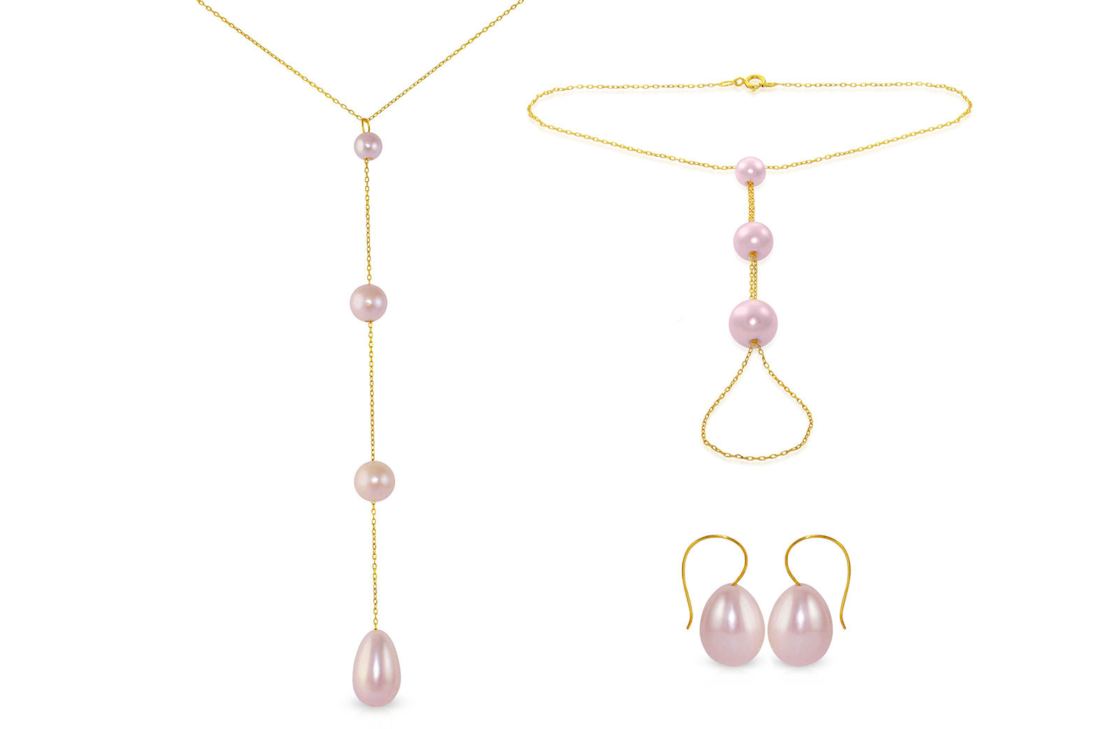 Vera Perla 10K Gold Gradual Built-in with Purple Drop Pearl Jewelry Set, 3 Pcs