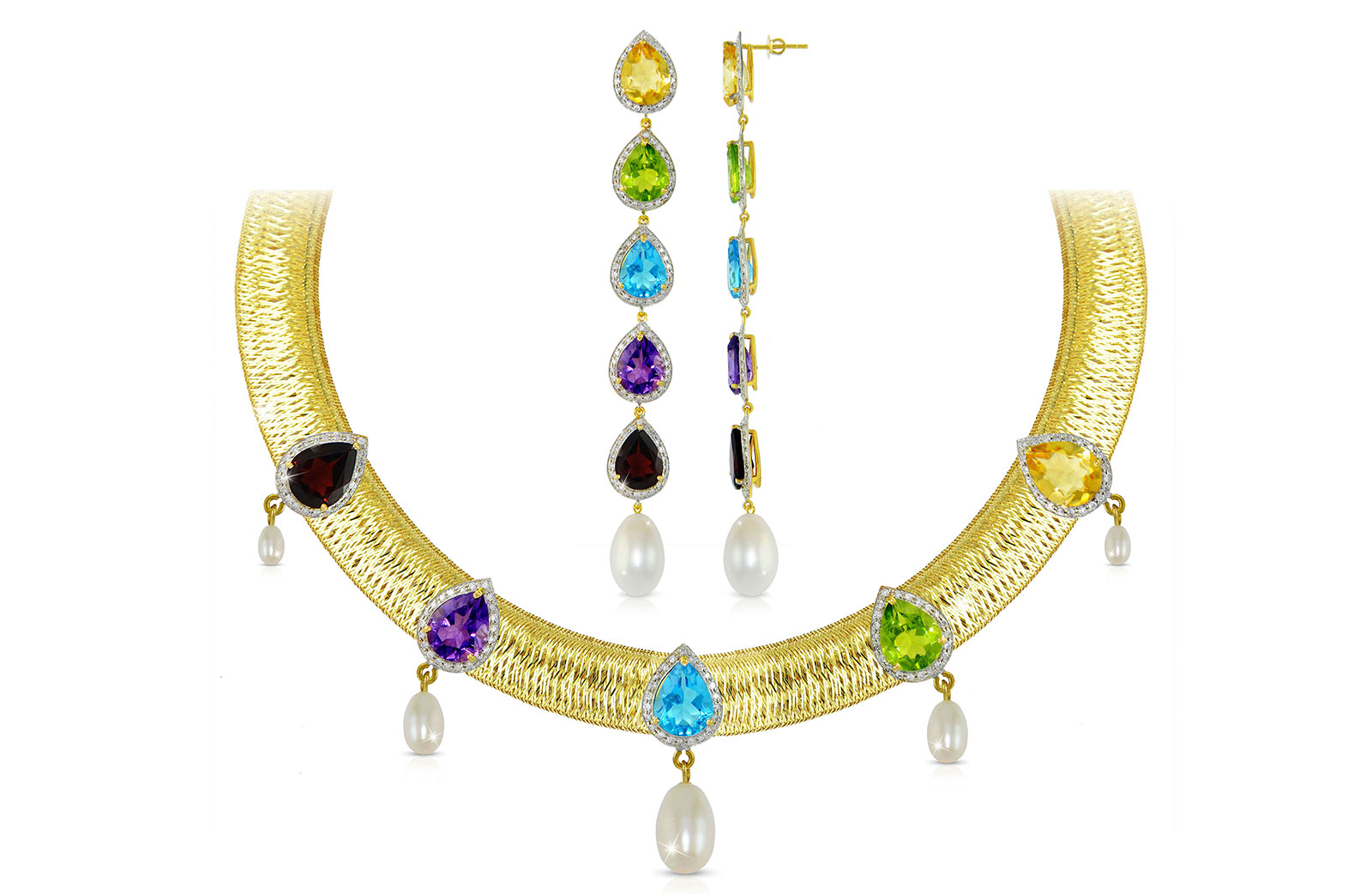 Vera Perla 18K  Gold 1.80Ct Genuine Diamonds and Multi-Gemstones with 7mm-13mm Pearls Jewelry Set, 2 pcs