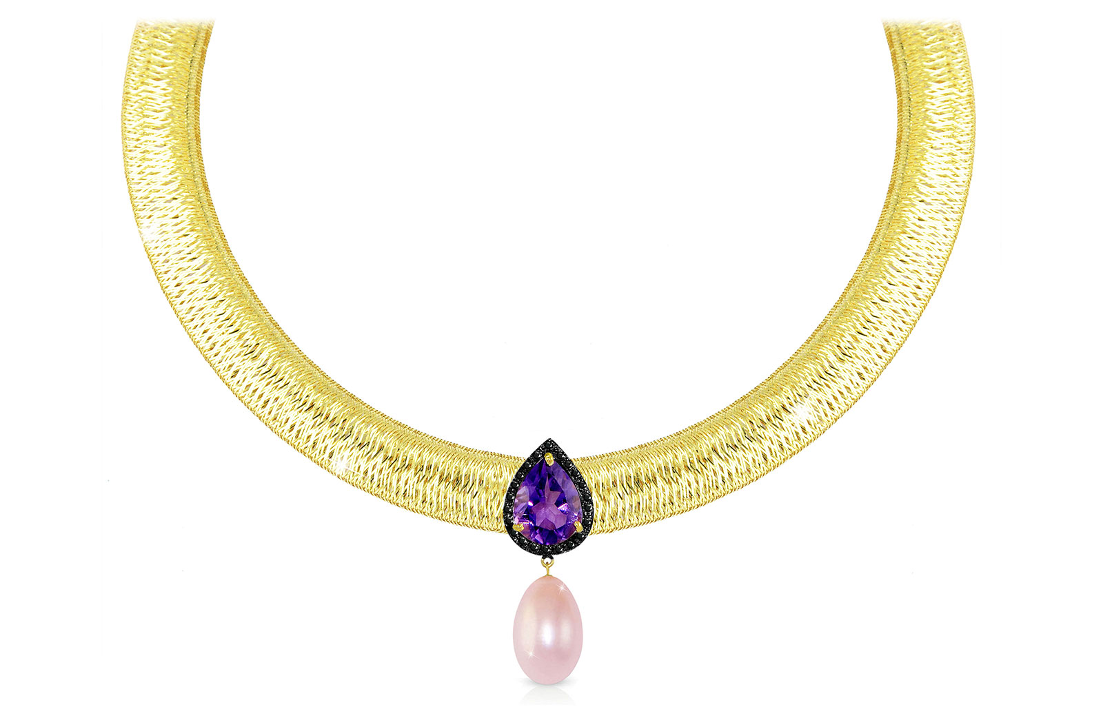 Vera Perla 18K Gold 0.12ct  Black Diamonds, Amethyst and 13mm Purple Pearl  Necklace