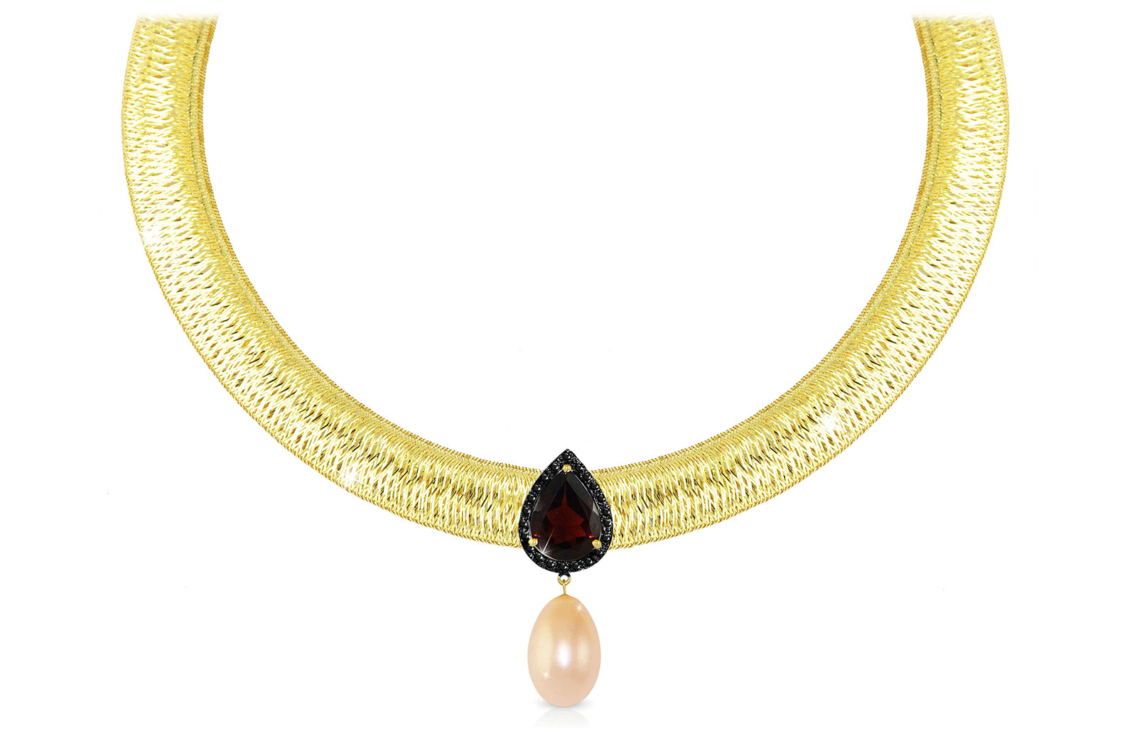Vera Perla 18K Gold 0.12ct  Black Diamonds, Garnet and 13mm Pink Pearl  Necklace