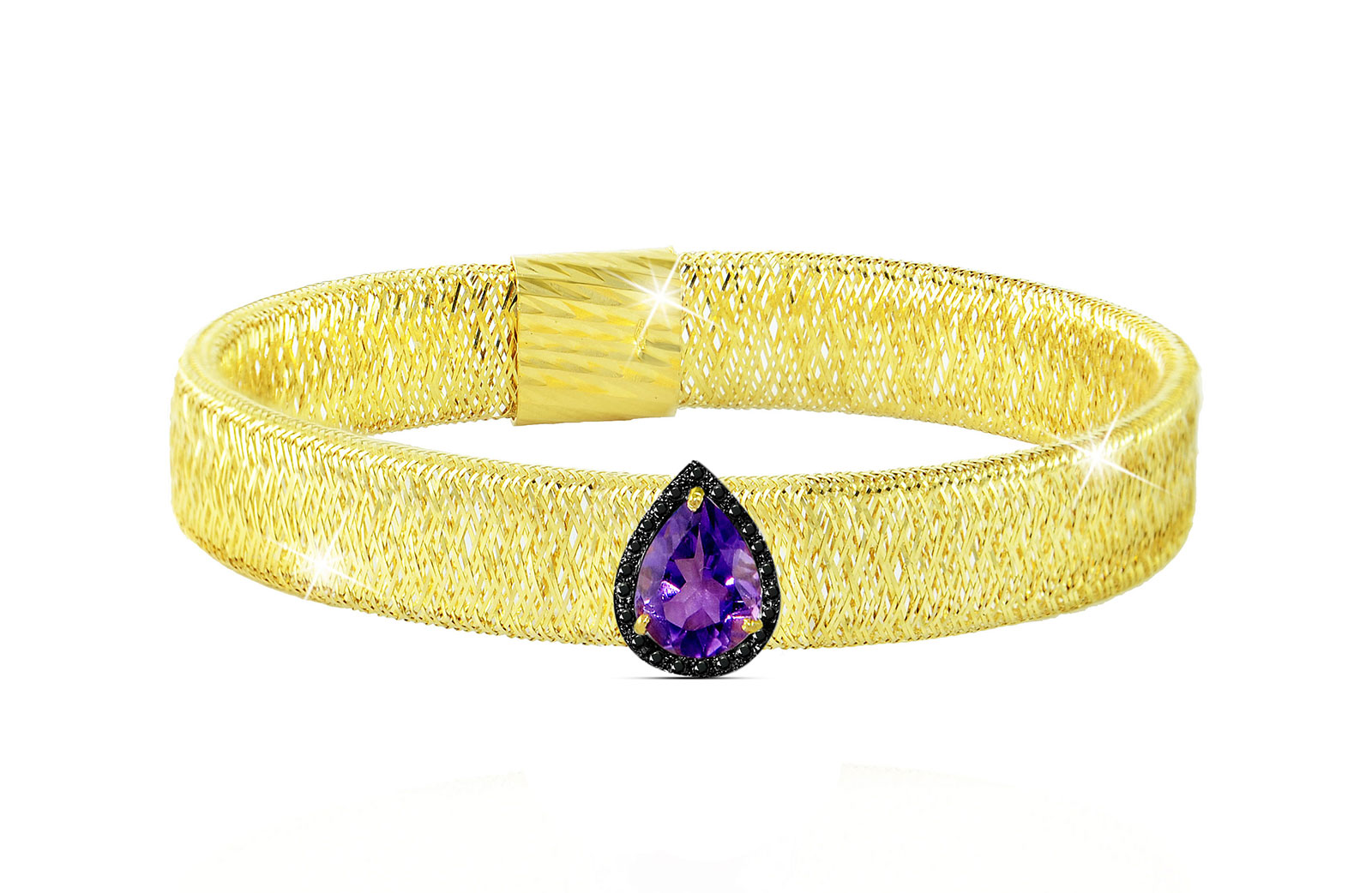 Vera Perla 18K Gold 0.12ct Black Diamonds, Amethyst Mesh Bracelet
