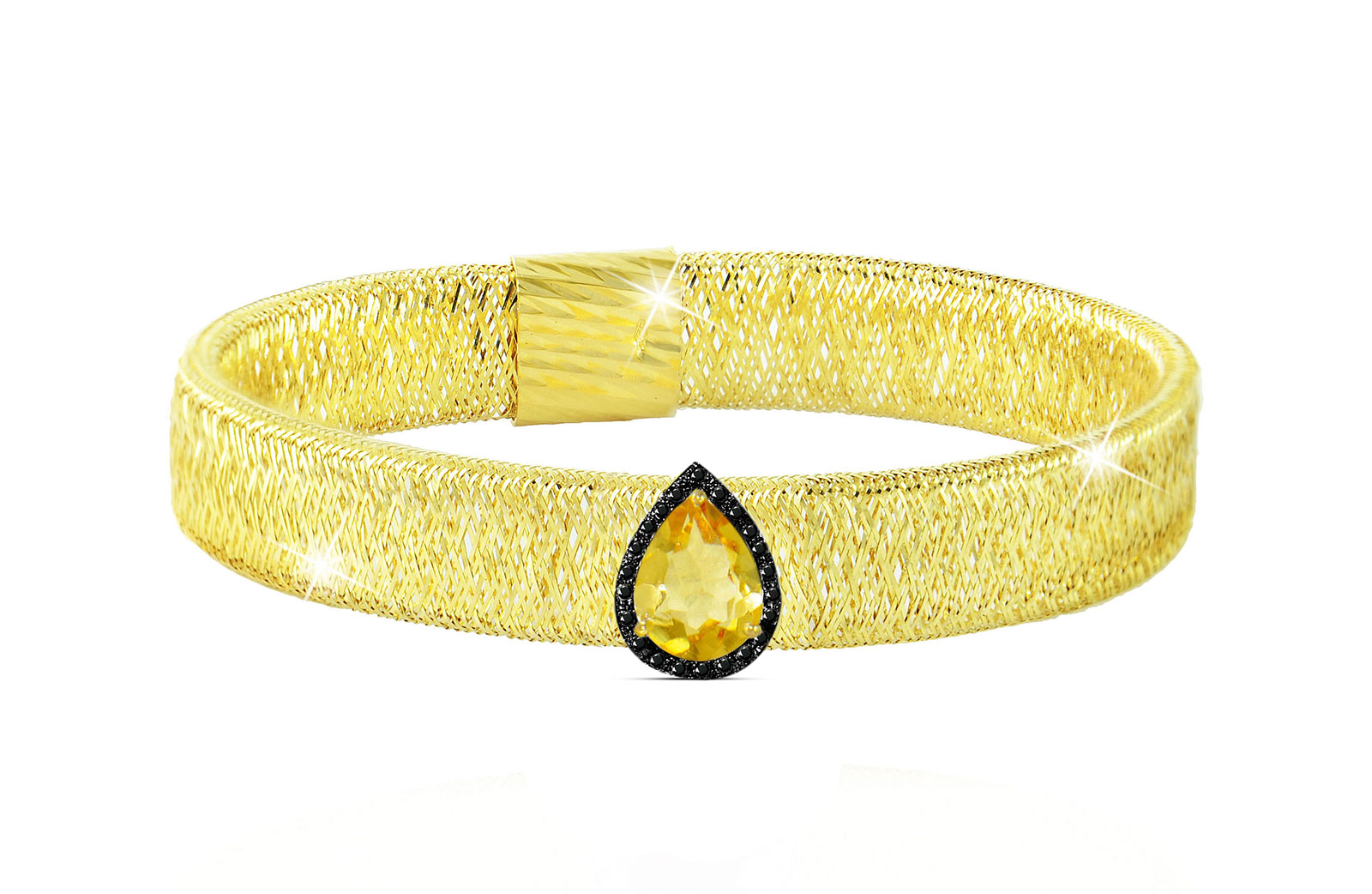 Vera Perla 18K Gold 0.12ct Black Diamonds, Citrine Mesh Bracelet