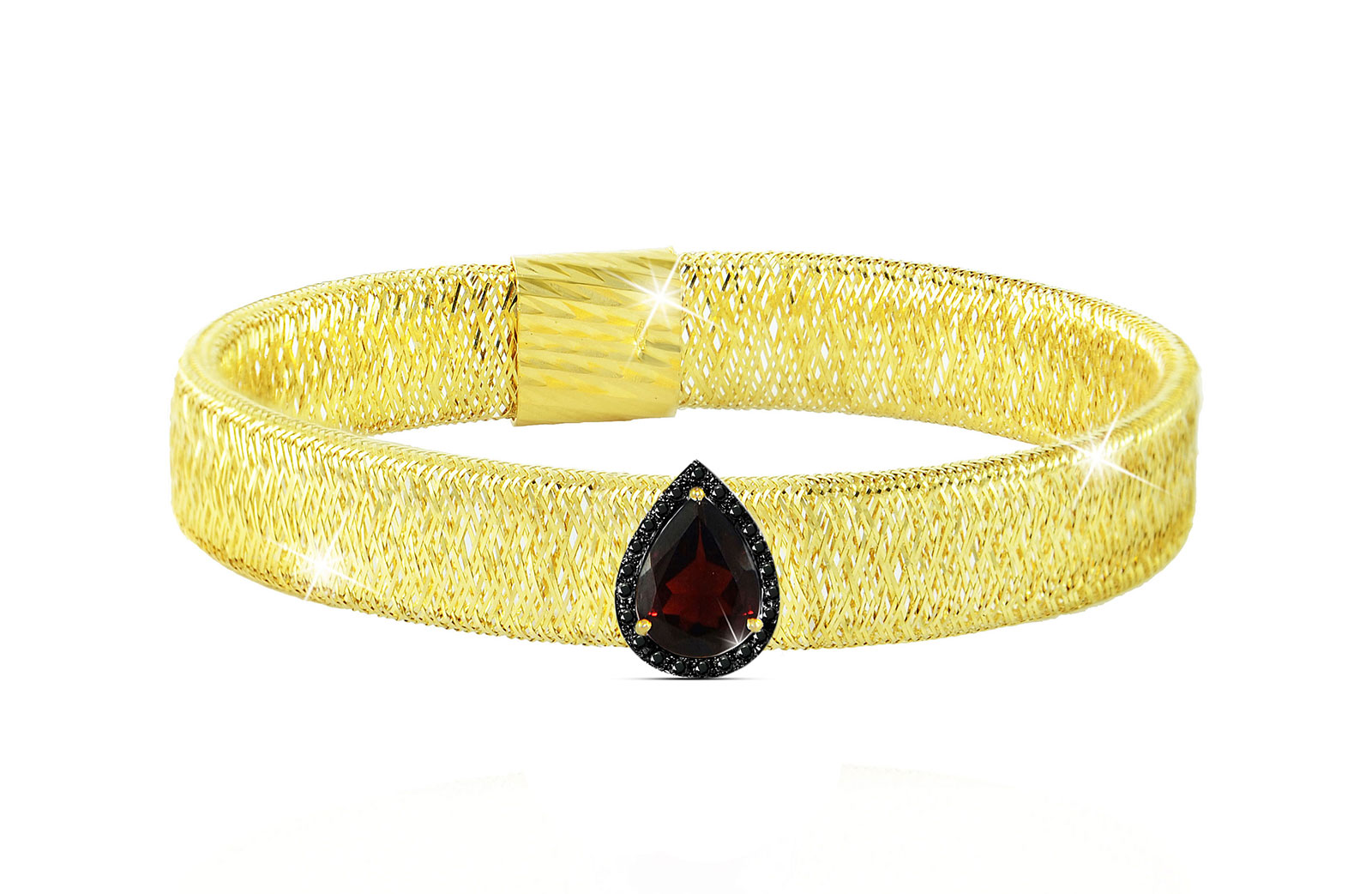 Vera Perla 18K Gold 0.12ct Black Diamonds, Garnet Mesh Bracelet