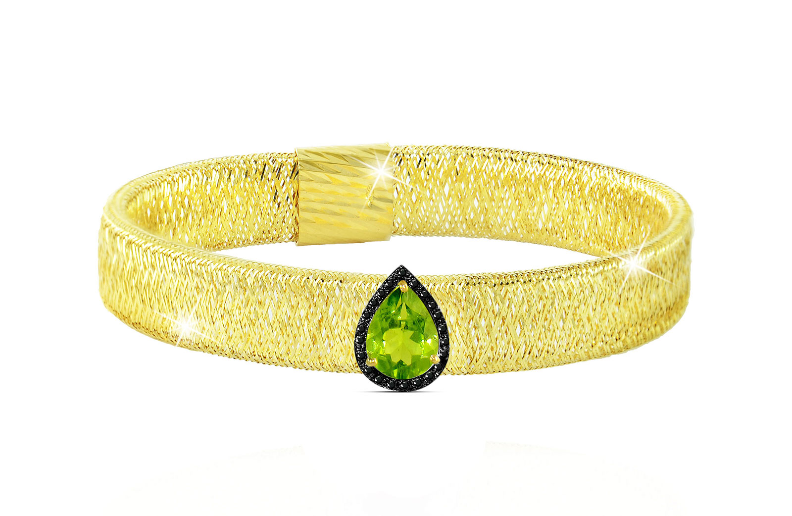 Vera Perla 18K Gold 0.12ct Black Diamonds, Peridot Mesh Bracelet