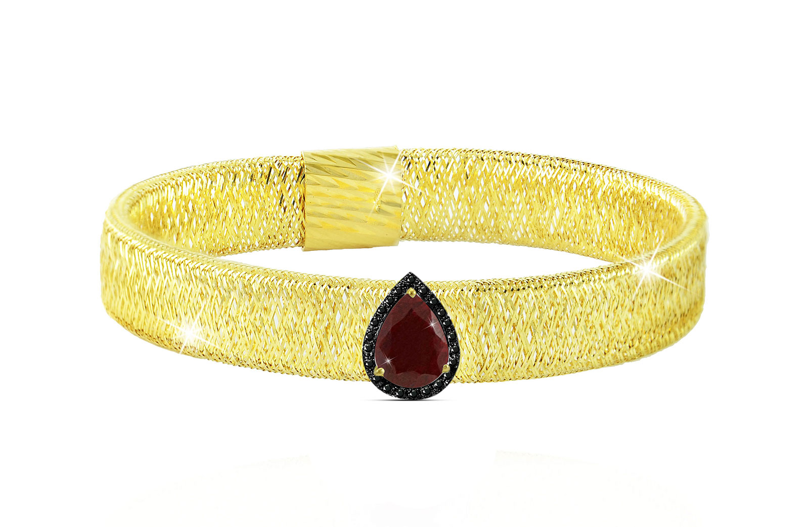 Vera Perla 18K Gold 0.12ct Black Diamonds, Ruby Mesh Bracelet