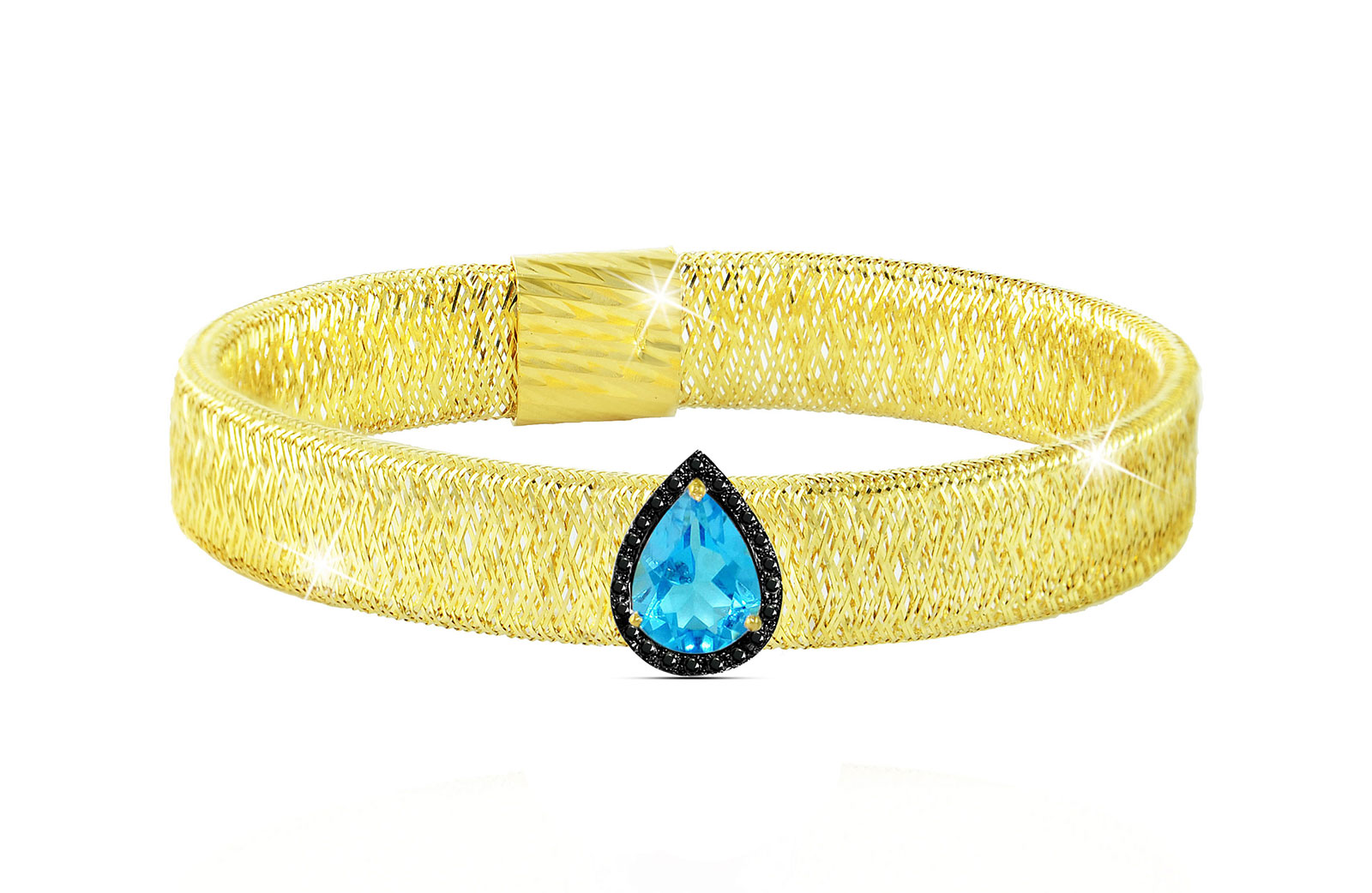 Vera Perla 18K Gold 0.12ct Black Diamonds, Topaz Mesh Bracelet