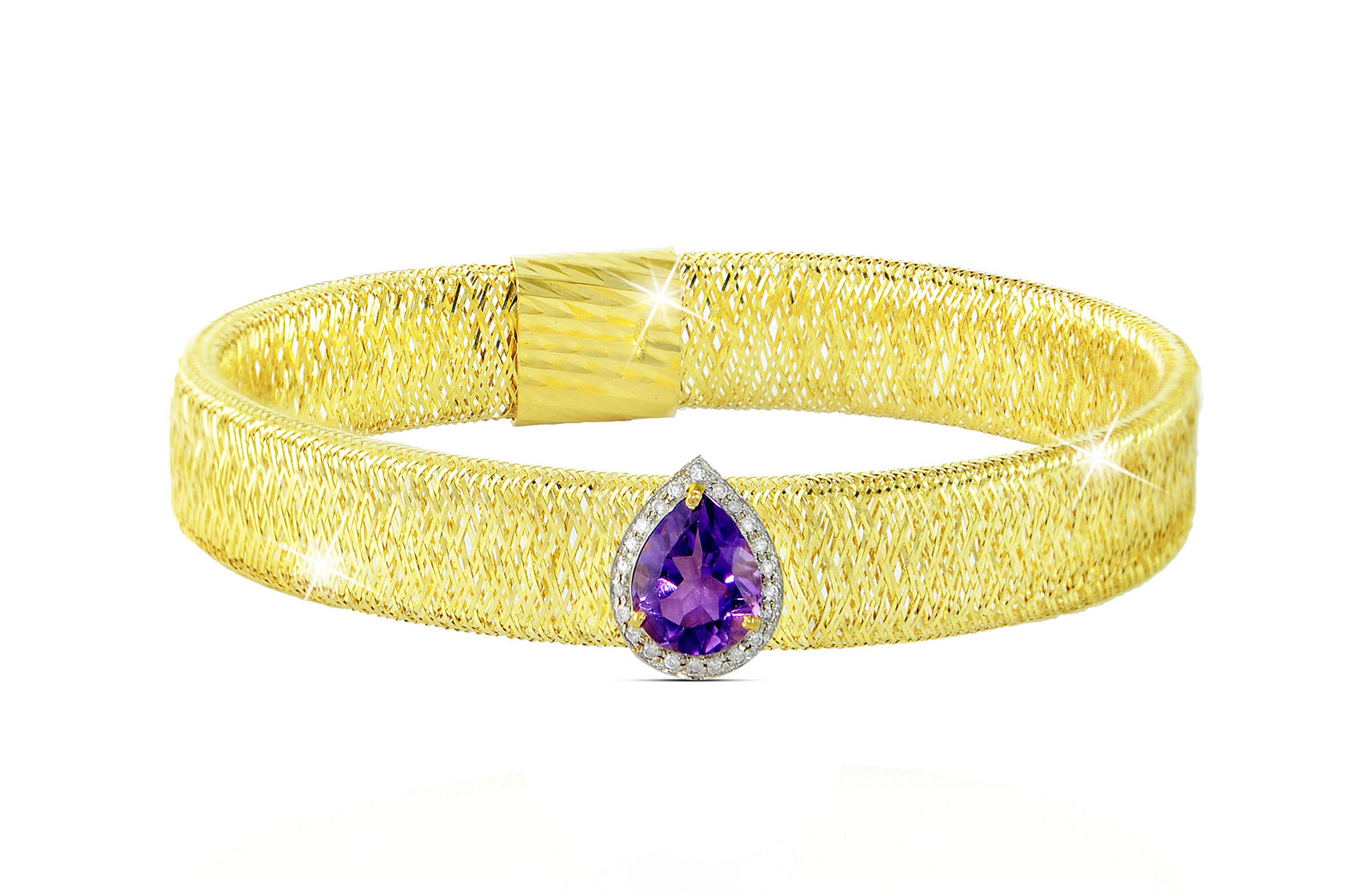 Vera Perla 18K Gold 0.12ct Diamonds, Amethyst Mesh Bracelet