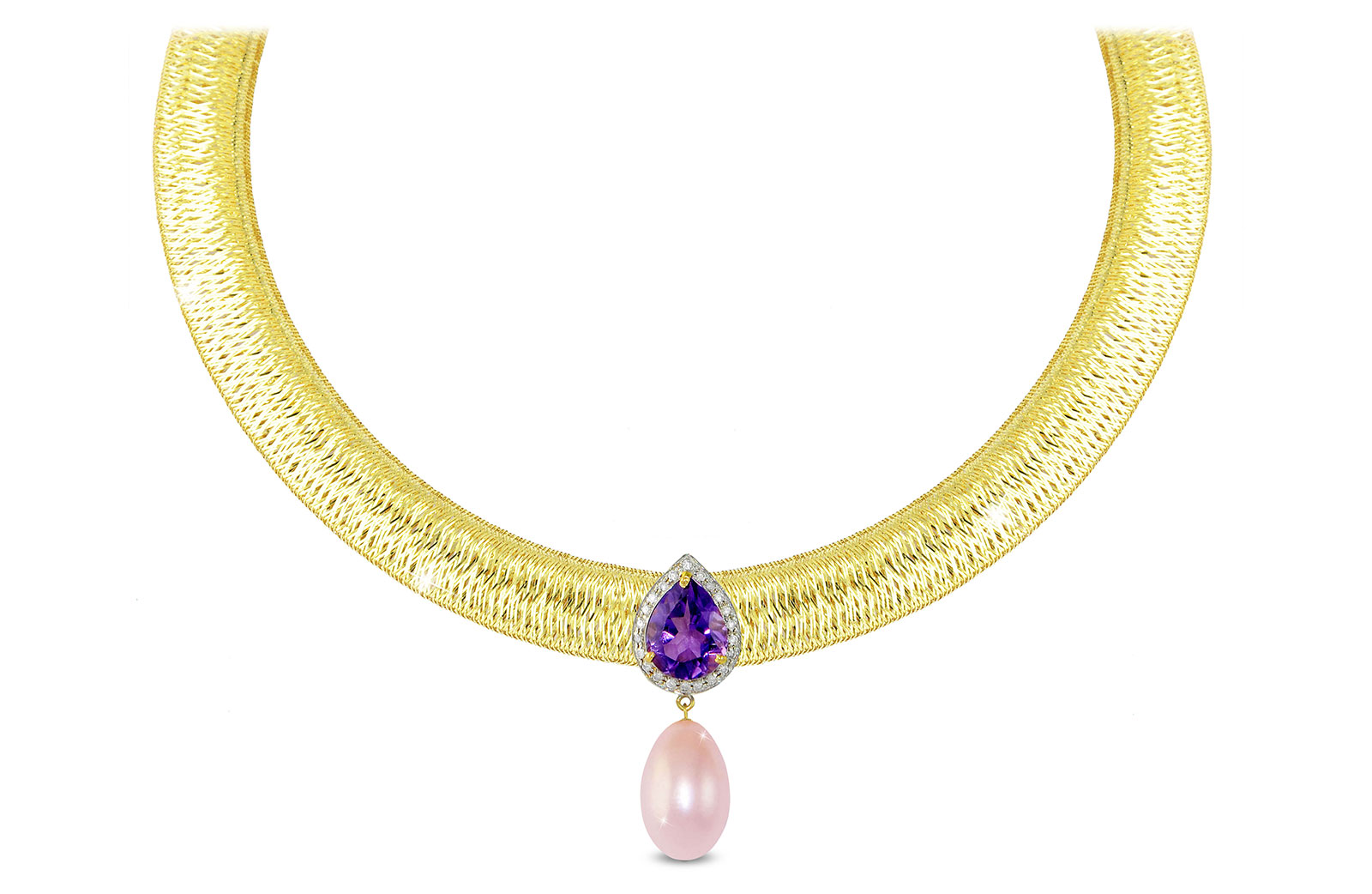 Vera Perla 18K Gold 0.12ct Diamonds, Amethyst and 13mm Purple Pearl Necklace