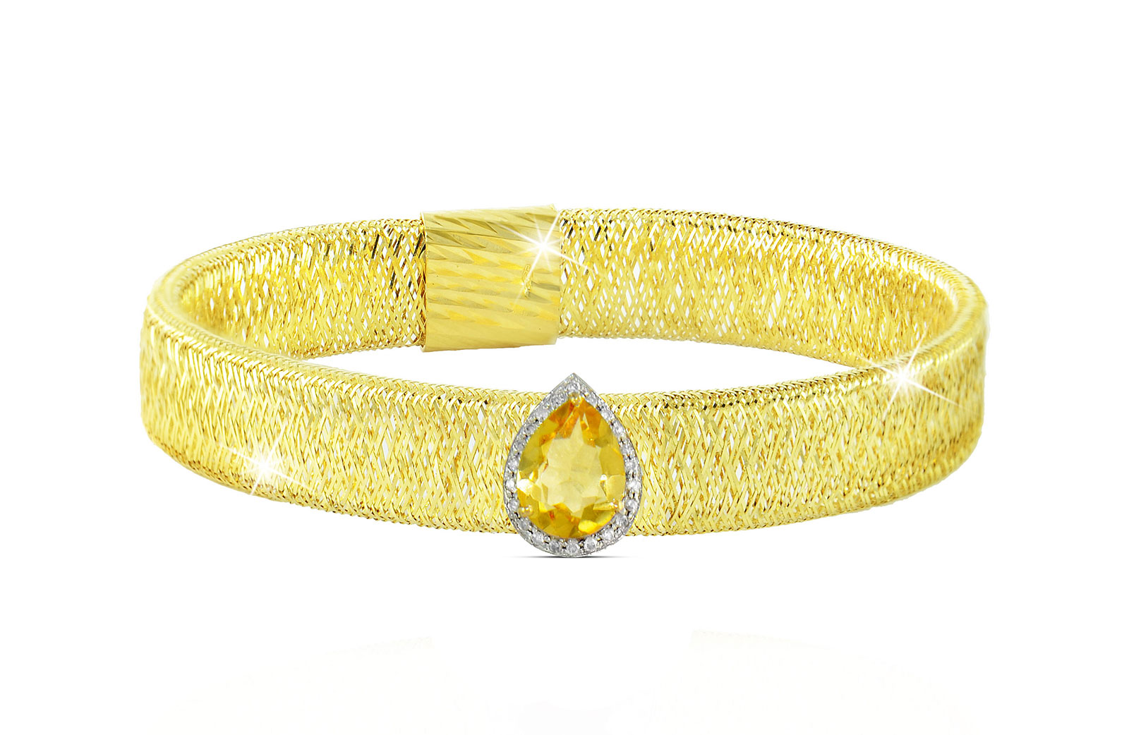 Vera Perla 18K Gold 0.12ct Diamonds, Citrine Mesh Bracelet