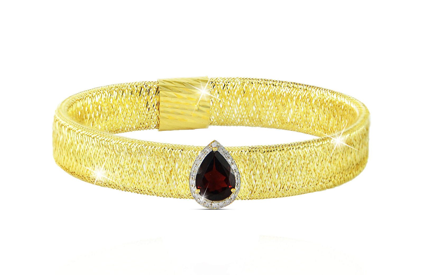 Vera Perla 18K Gold 0.12ct Diamonds, Garnet Mesh Bracelet